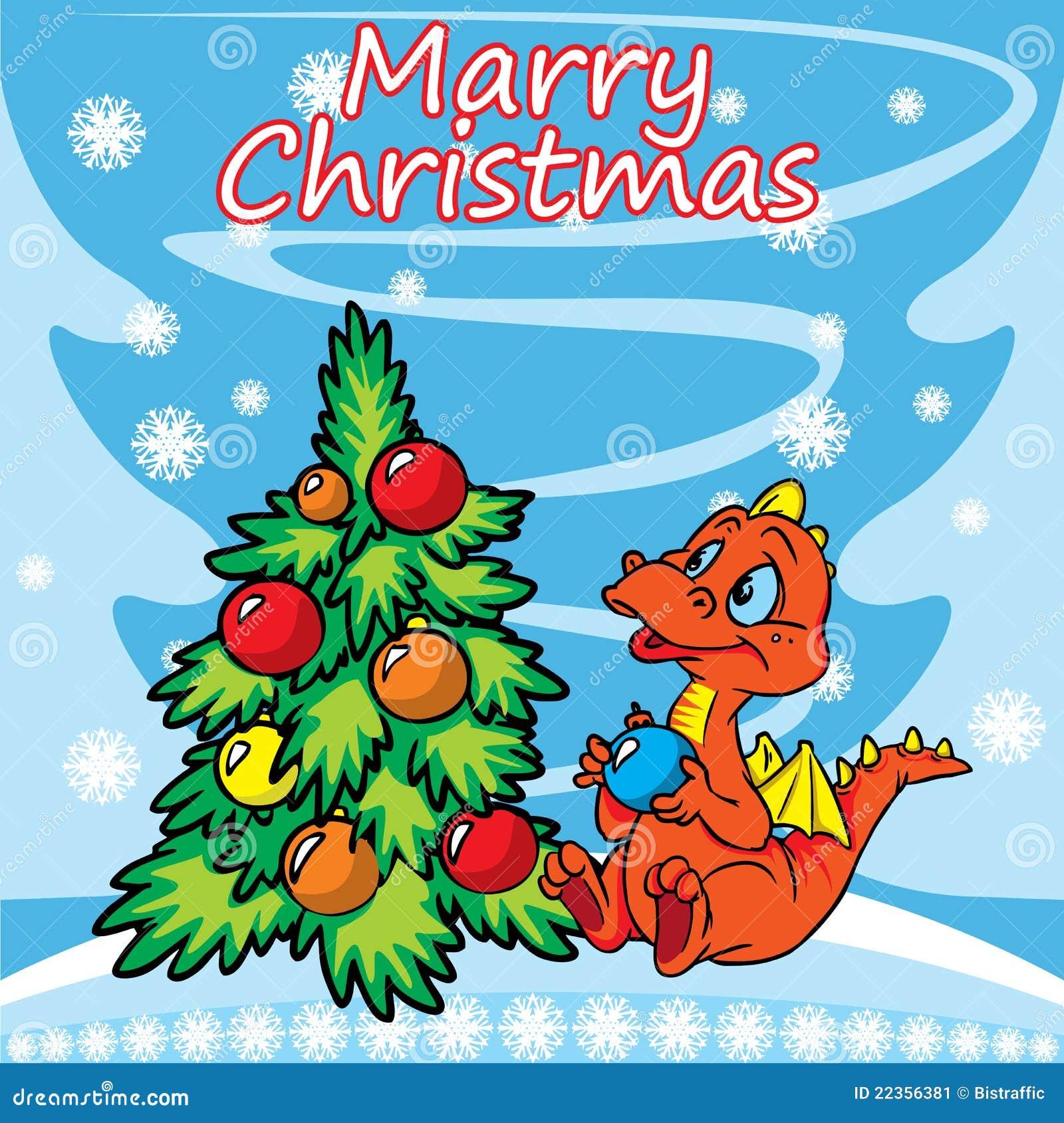 看板卡圣诞节龙问候结构树