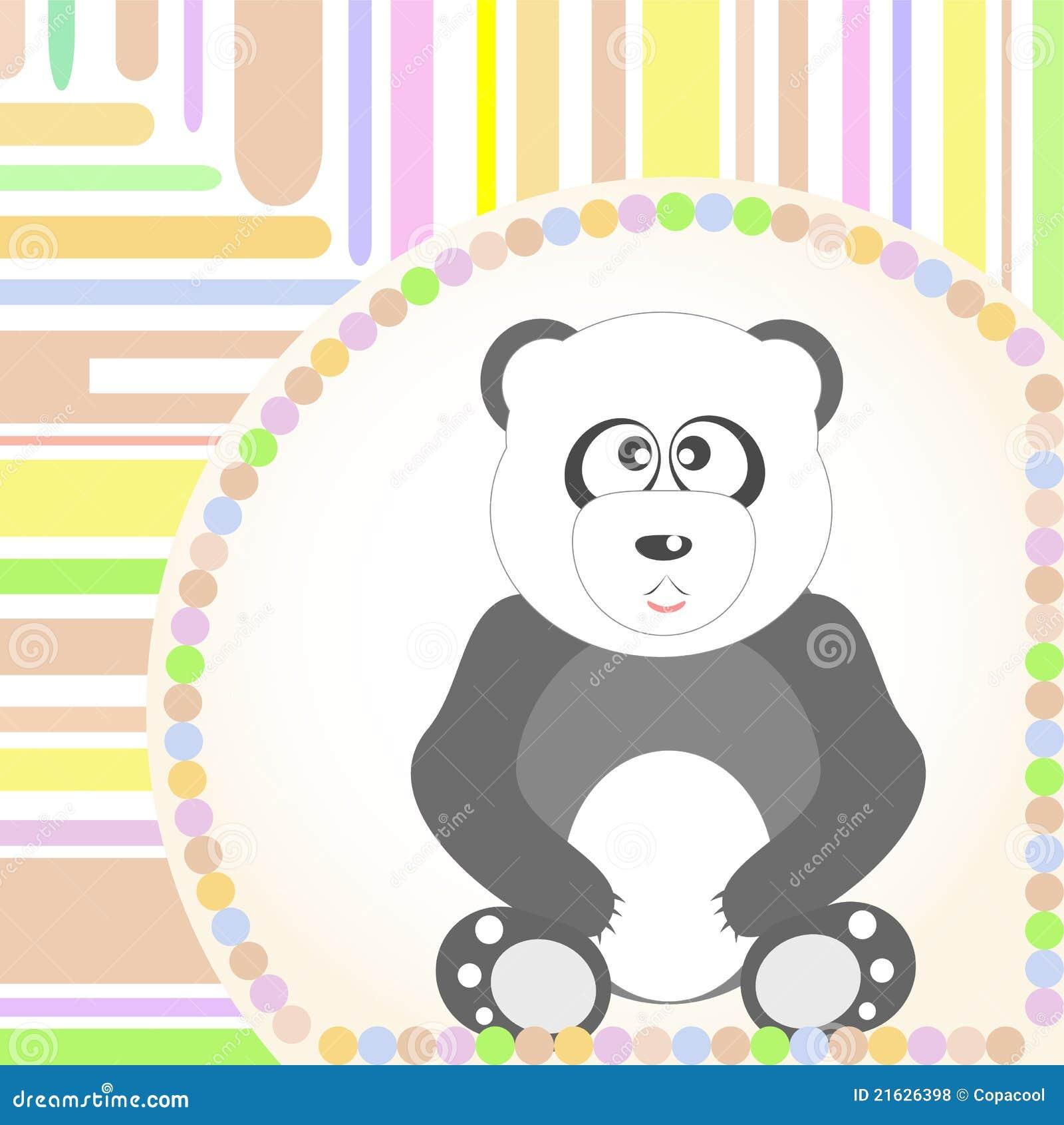 看板卡问候熊猫坐的微笑的向量