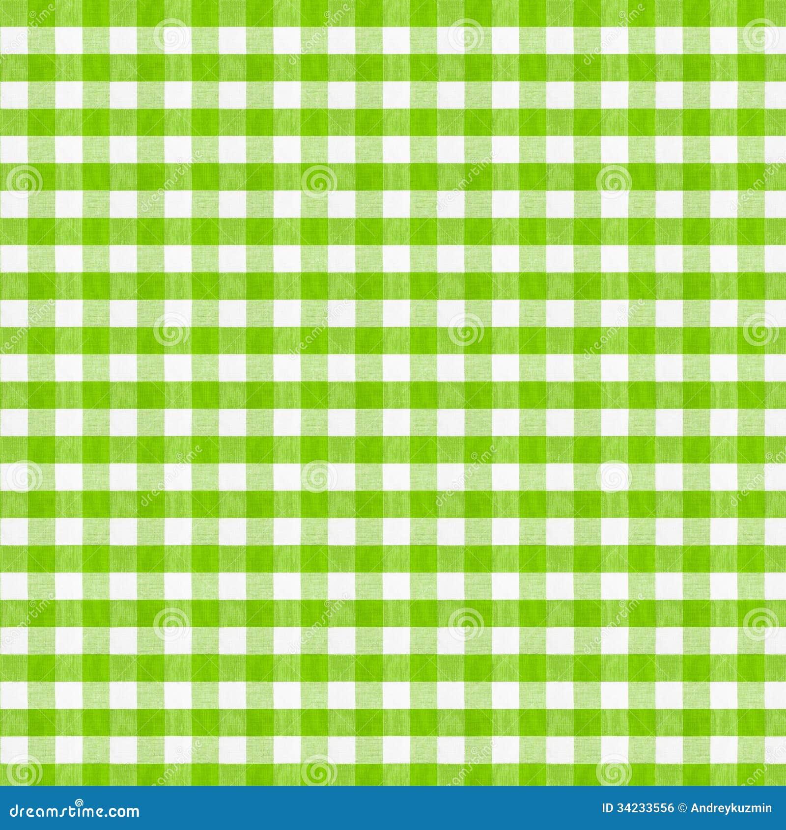 真正的绿色方格的织品桌布