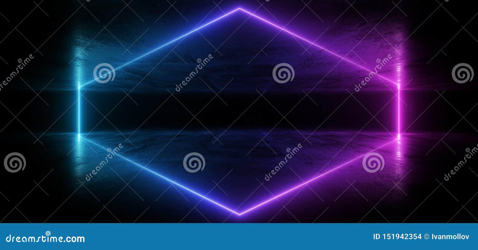 真正霓虹激光发光的紫色蓝色充满活力的展示夜黑暗的空的难看的东西具体形状的光明亮的反射光滑的外籍人