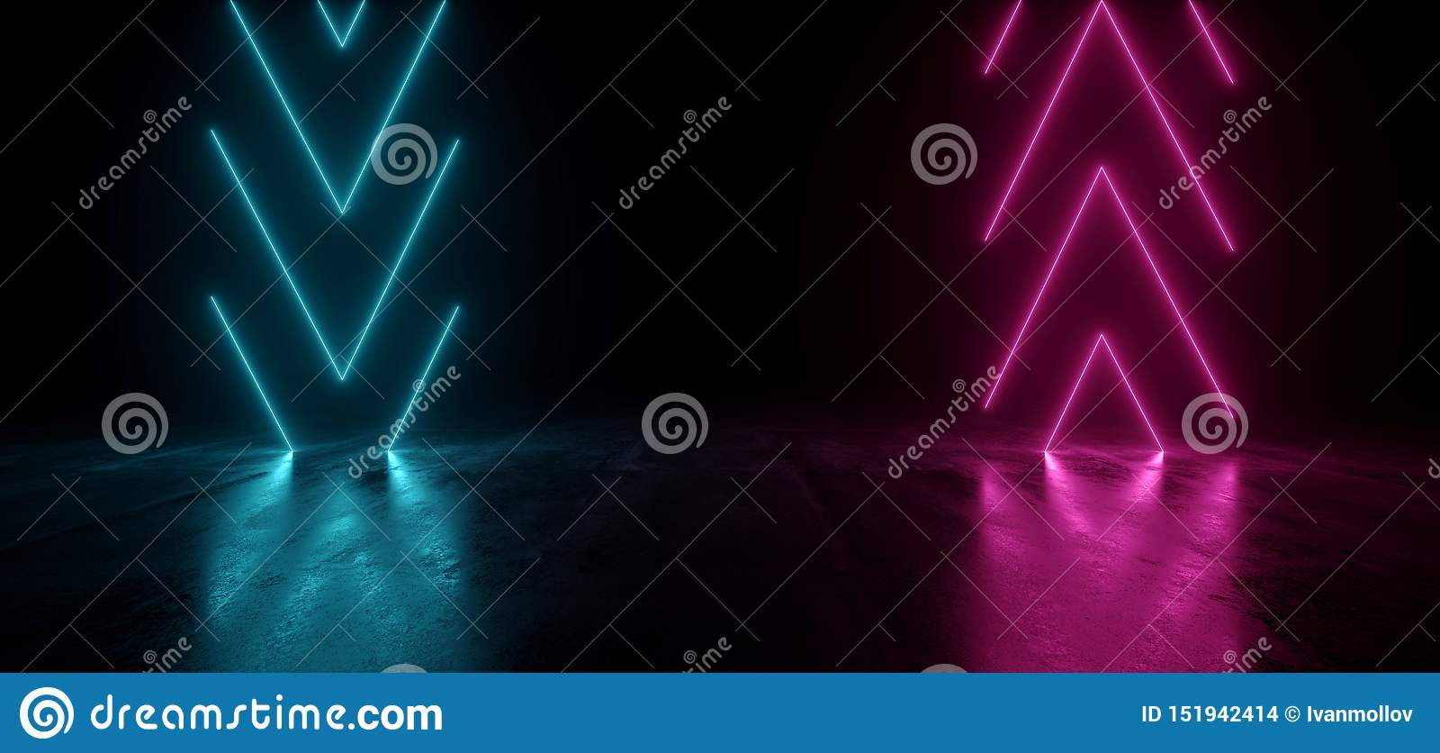 真正霓虹激光箭头发光的紫色蓝色充满活力的展示夜黑暗的空的难看的东西具体形状的光明亮的反射