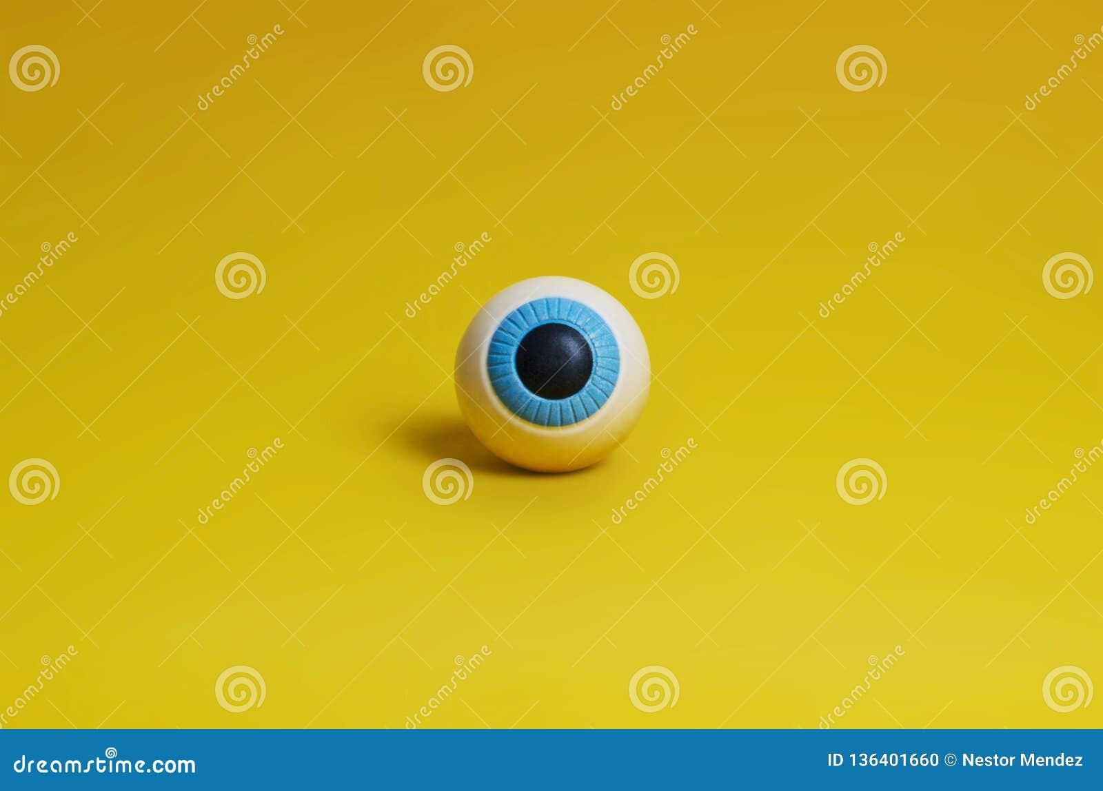 眼睛,在黄色背景的学生 蓝眼睛,非注重球以学生的形式