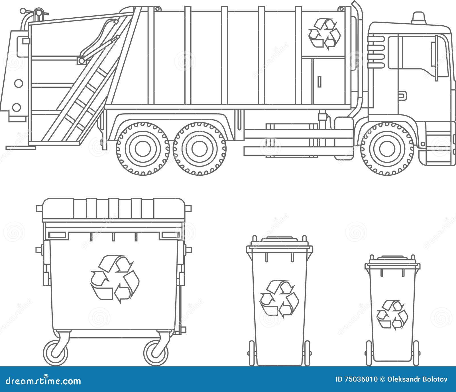 着色页 套垃圾车和大型垃圾桶平的线性传染媒介象的不同的类型在白色背景隔绝的 Vecto