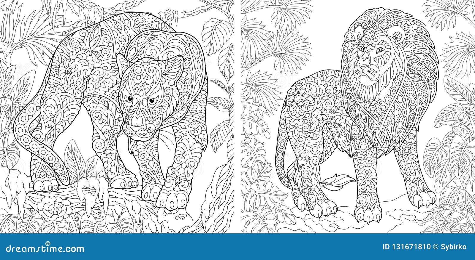 着色页 成人的彩图 与豹和狮子的上色图片 与乱画的Antistress徒手画的略图
