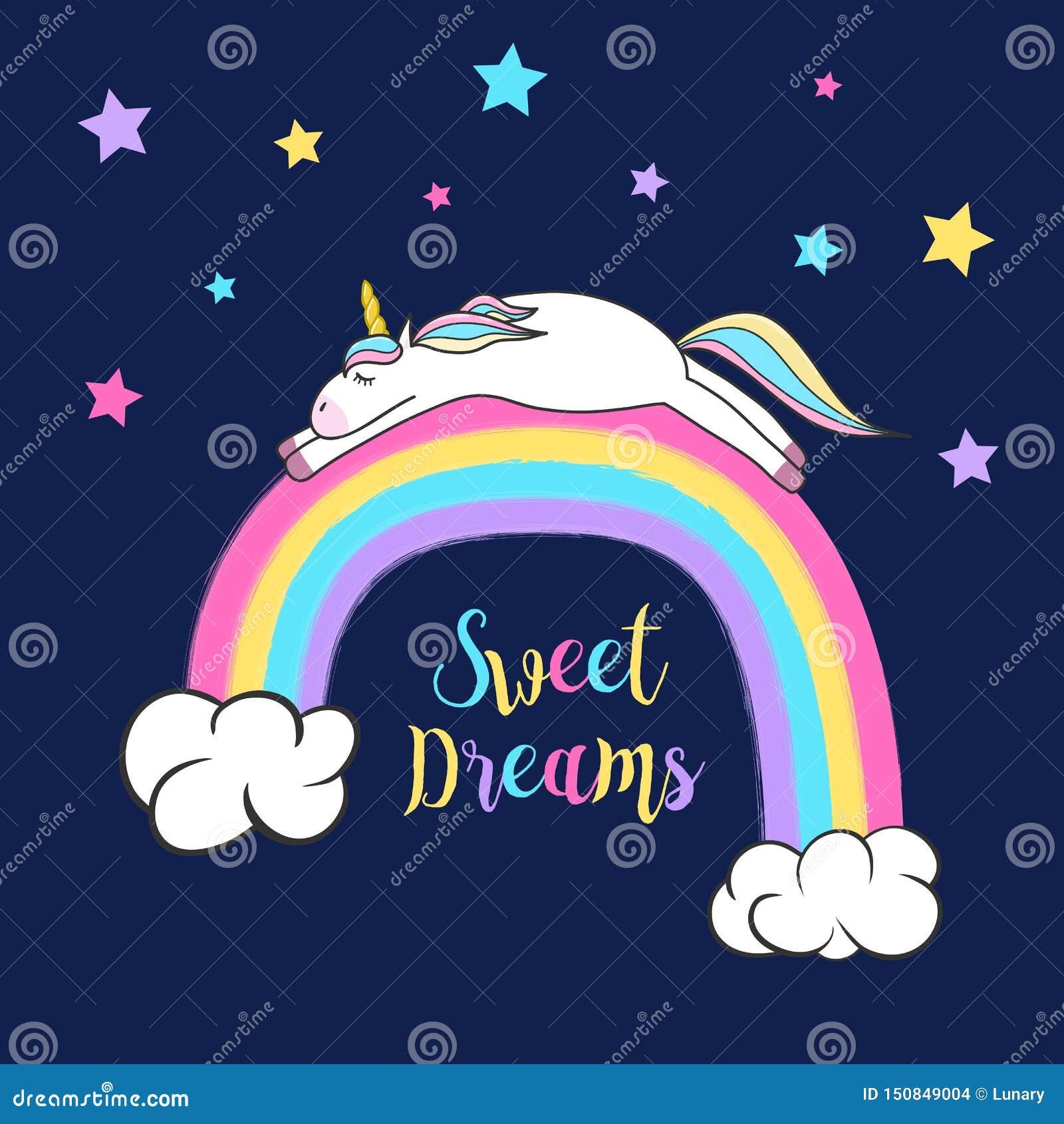 睡觉在彩虹的逗人喜爱的独角兽