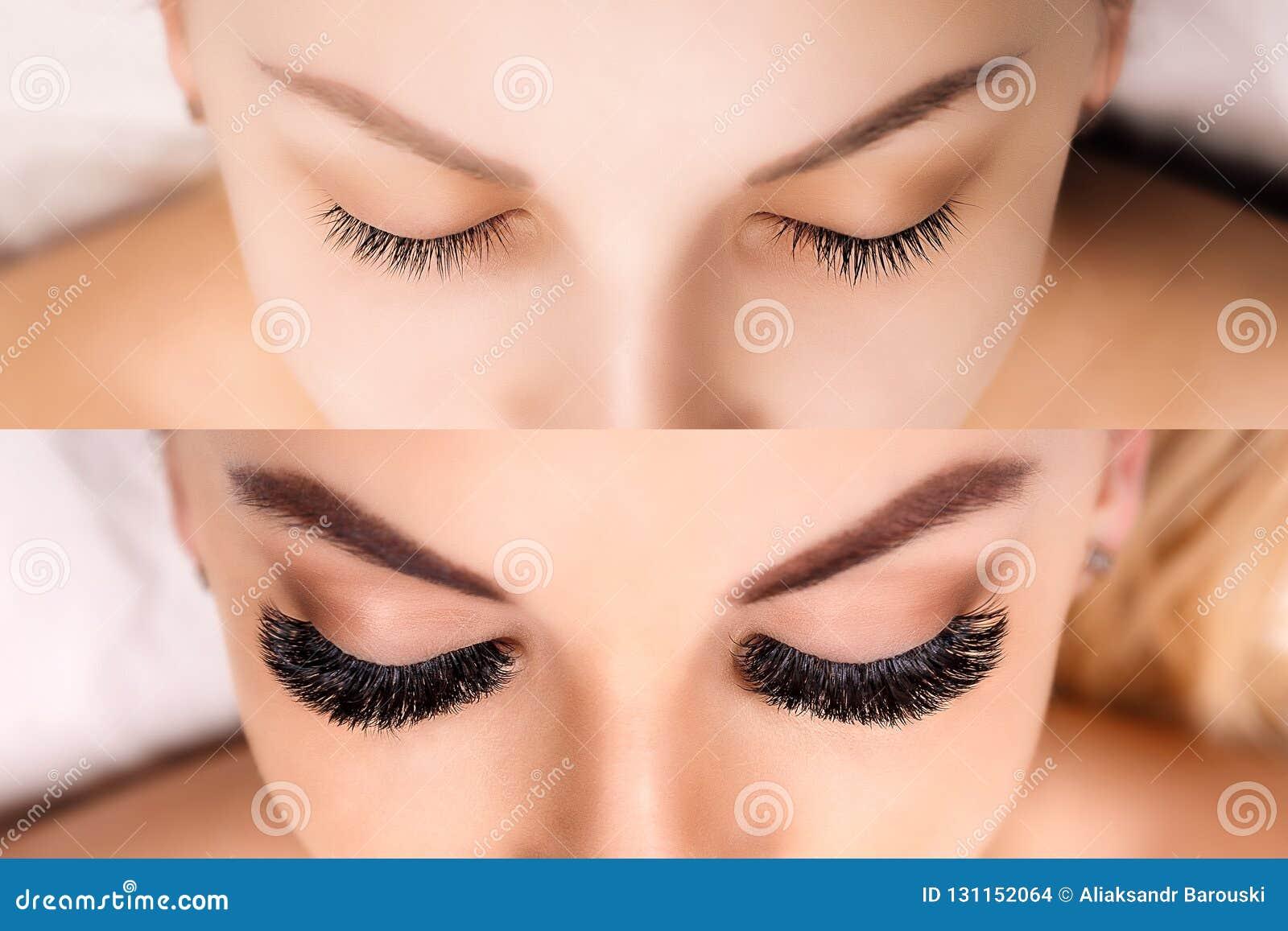 睫毛引伸 前后女性眼睛比较  好莱坞,俄国容量