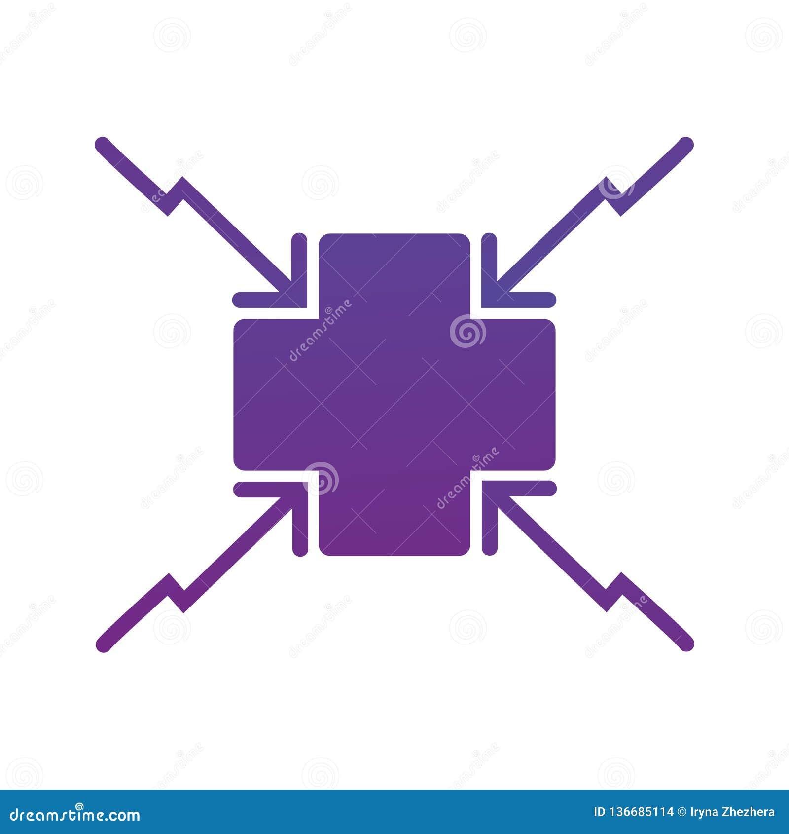 瞄准对发怒中心象的4个箭头 方向箭头 在空白背景查出的向量例证
