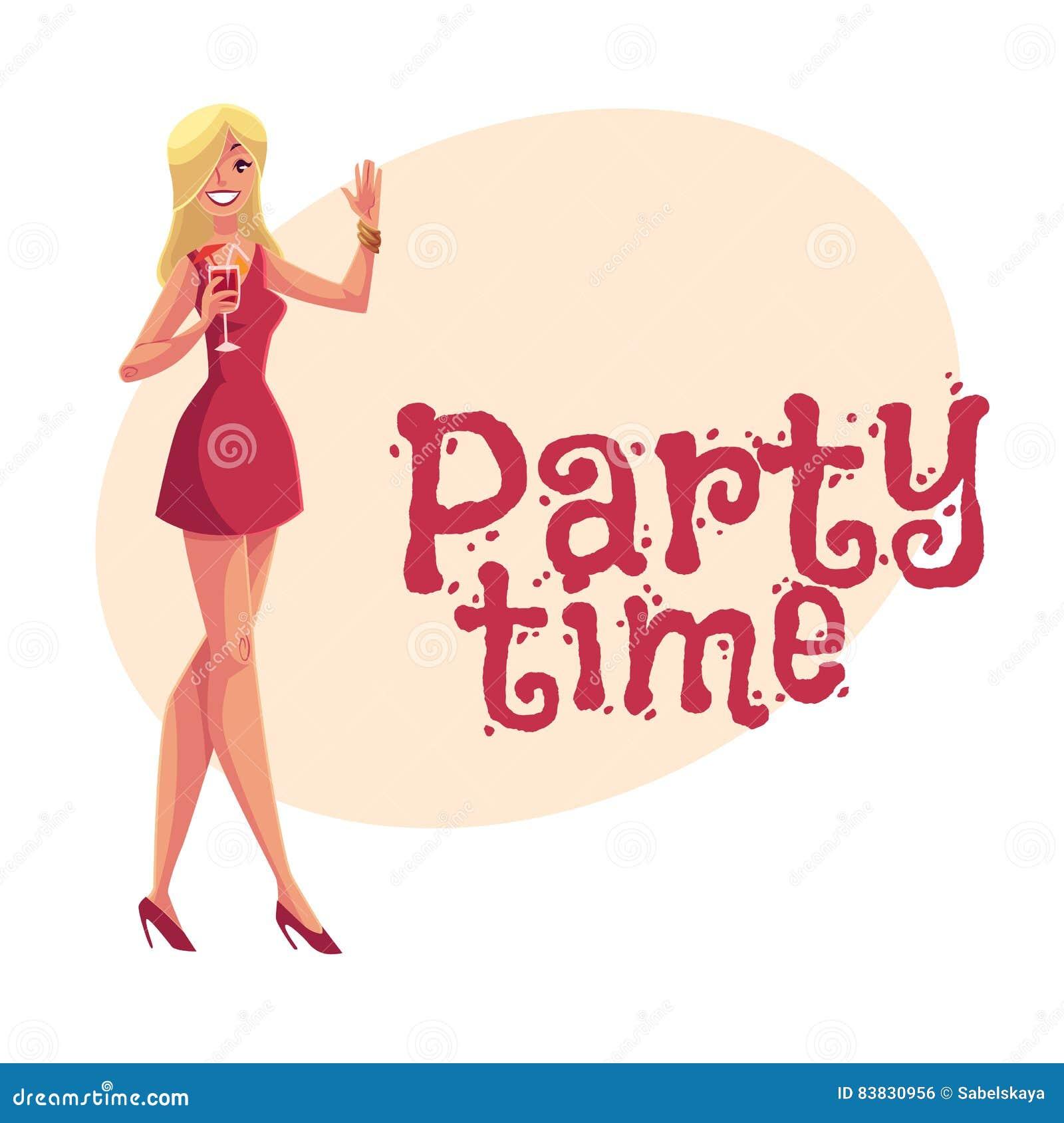 短的礼服饮用的鸡尾酒的年轻clubber女孩在党