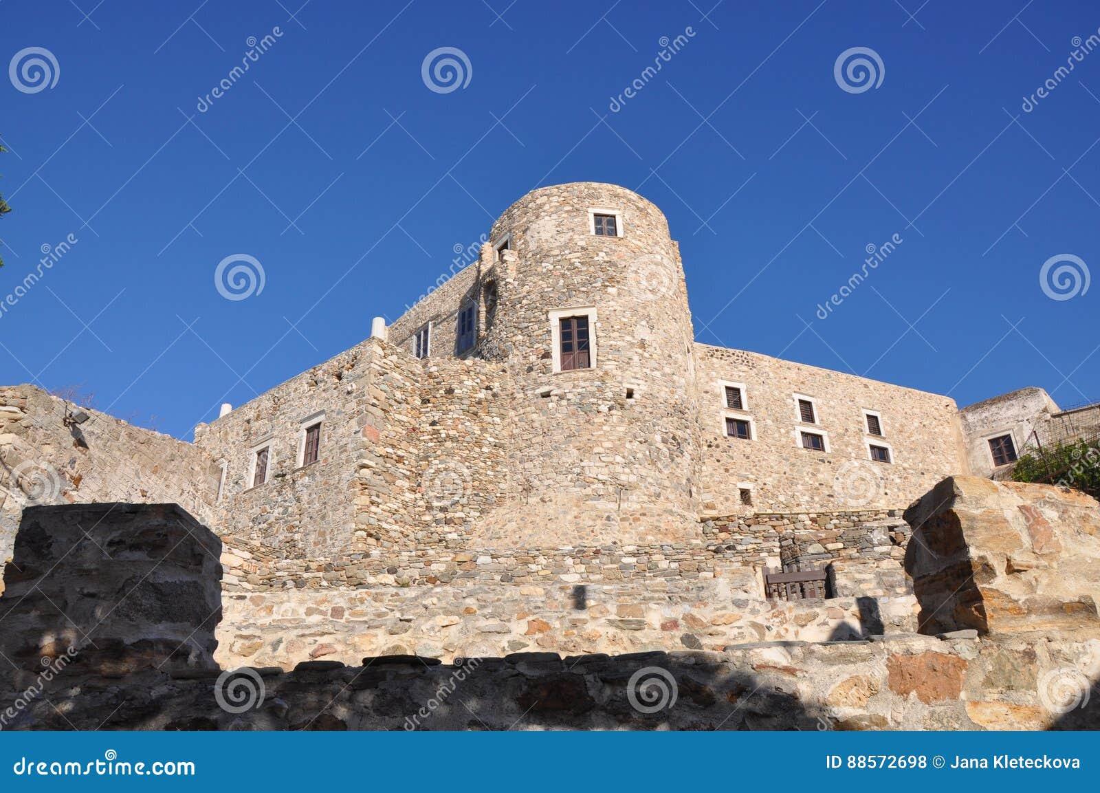 石堡垒威尼斯式城堡Kastro chora在纳克索斯岛