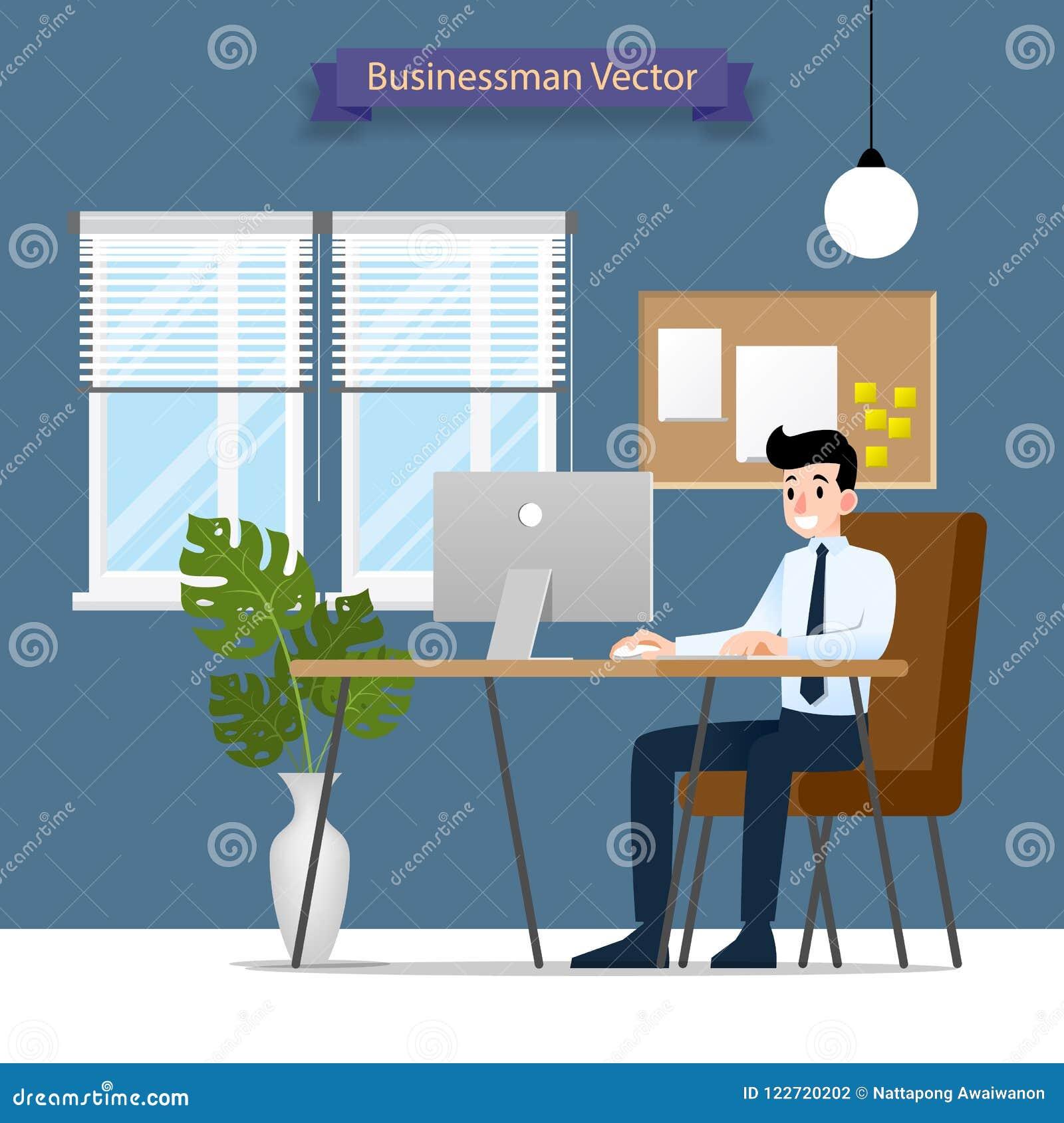 研究个人计算机的愉快的商人,坐在办公桌后的一个棕色皮椅 传染媒介平的样式Illus