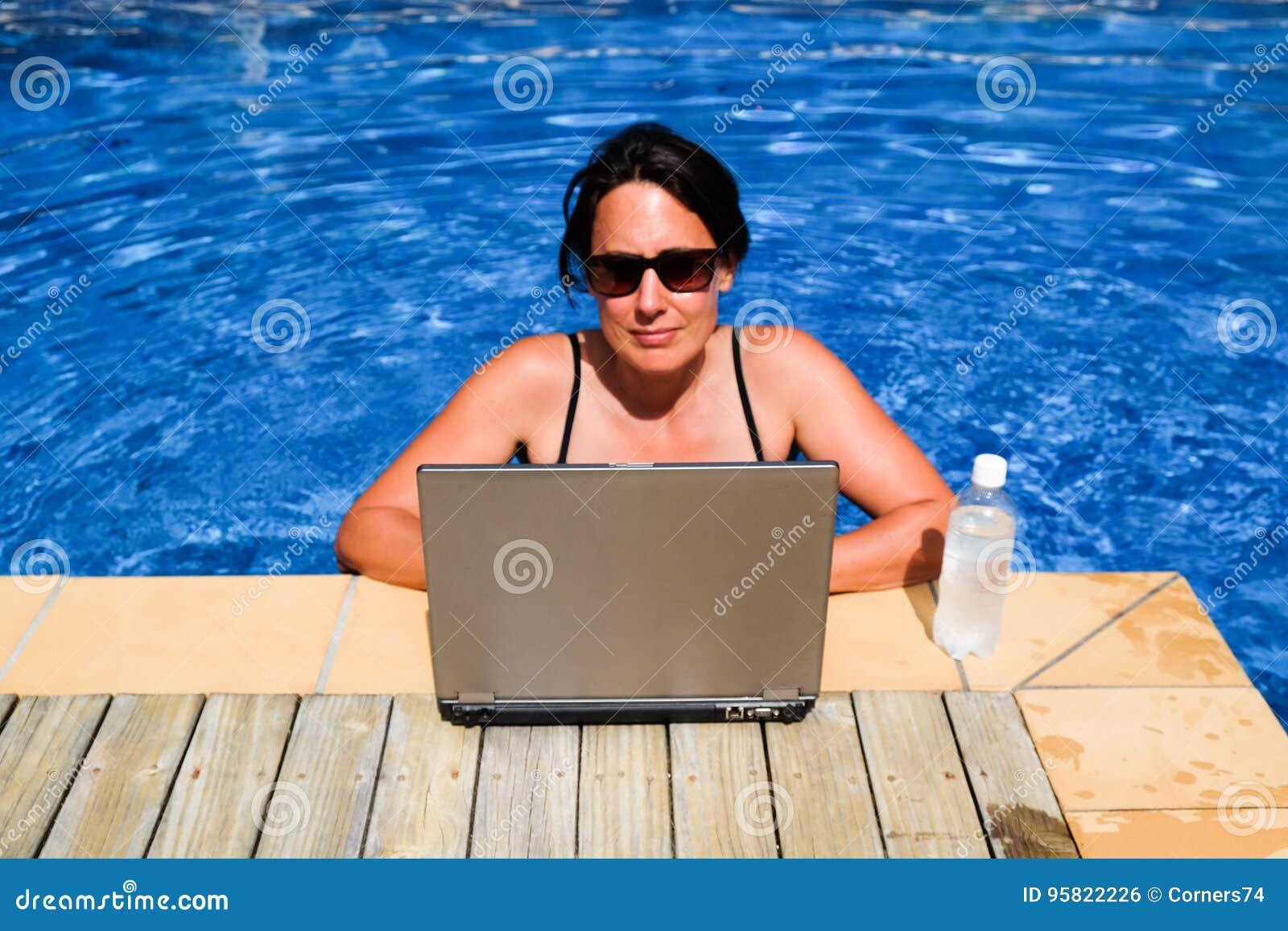 研究便携式计算机的被注重的女性行政工作狂