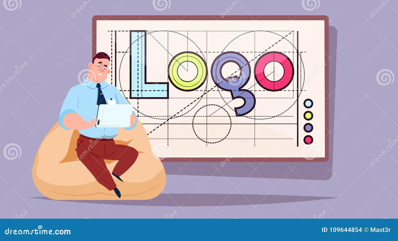 研究在商标词创造性的图形设计的便携式计算机的商人在抽象几何形状背景