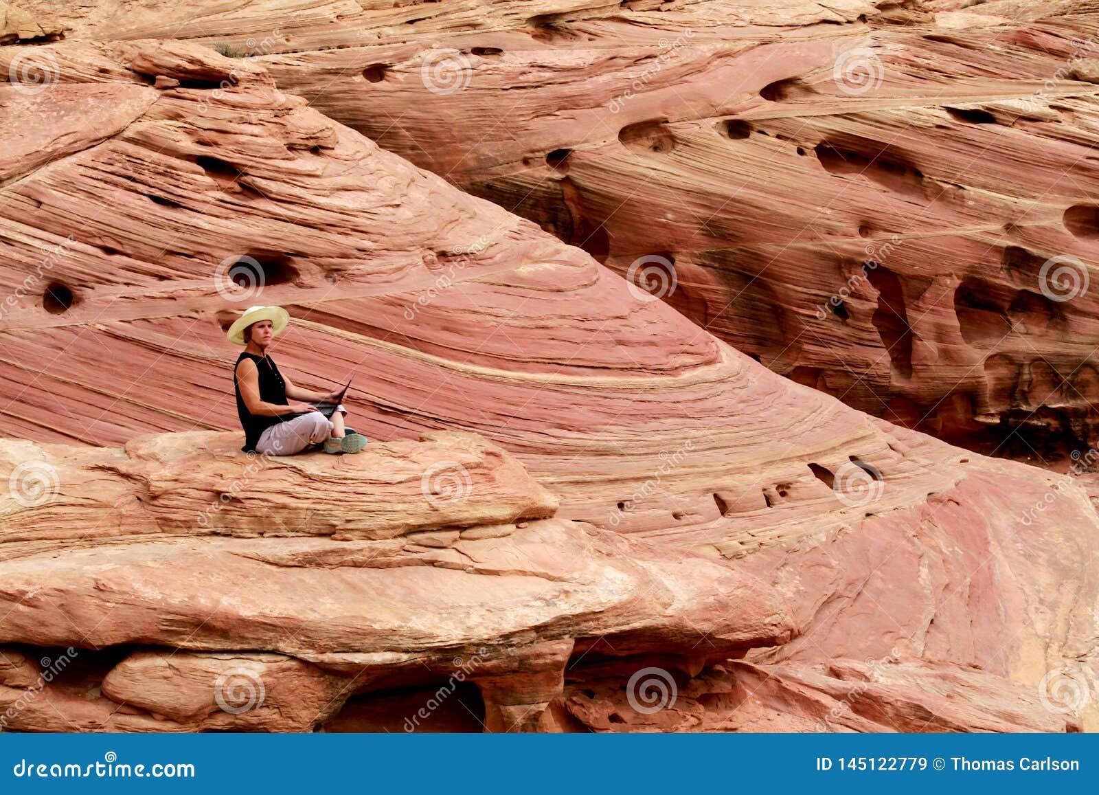 研究手提电脑上流的妇女在岩石