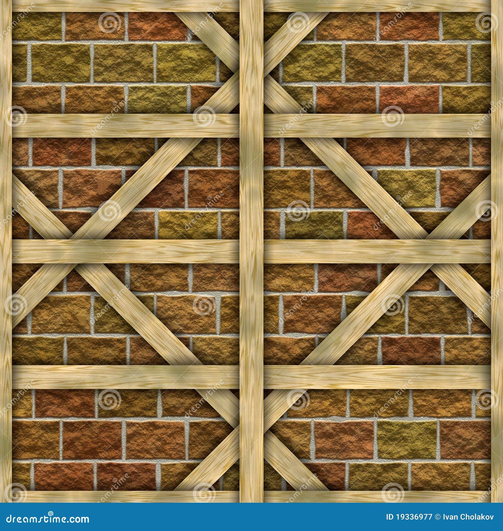 木砖框架前面老的墙壁.图片