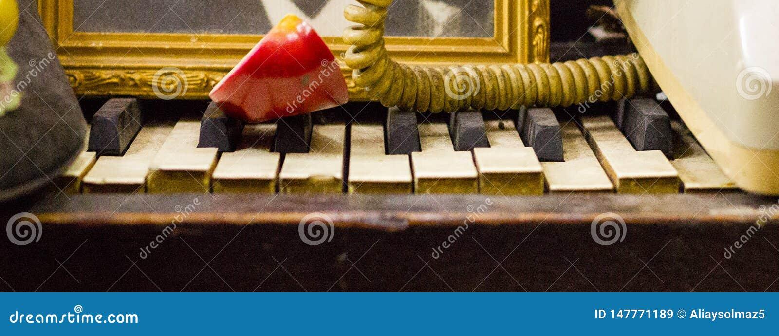 破产钢琴钥匙,古色古香的项目 使用它作为架子