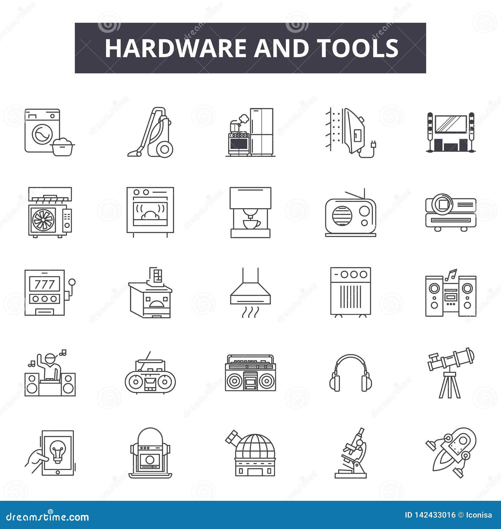 硬件和工具排行网和流动设计的象 编辑可能的冲程标志 硬件和工具概述概念