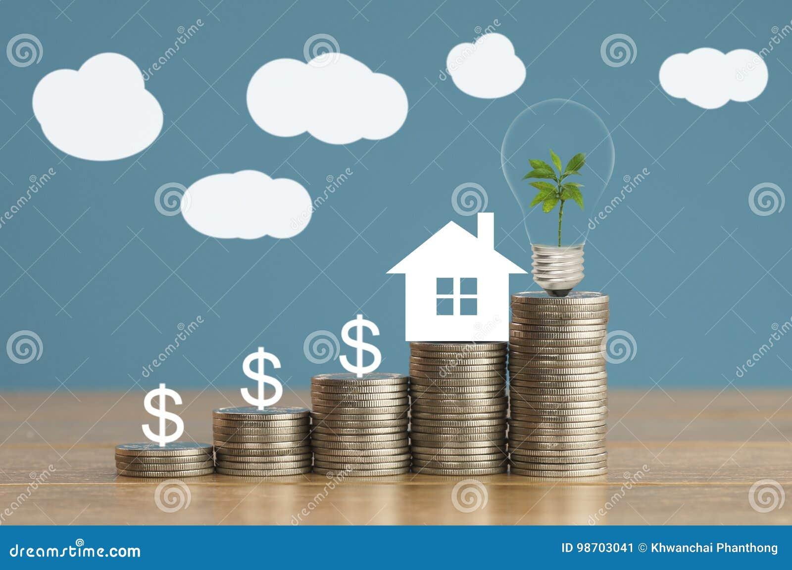 硬币和房子纸与绿色小树,电灯泡在金钱,概念在救球,财务和增长事务关于家