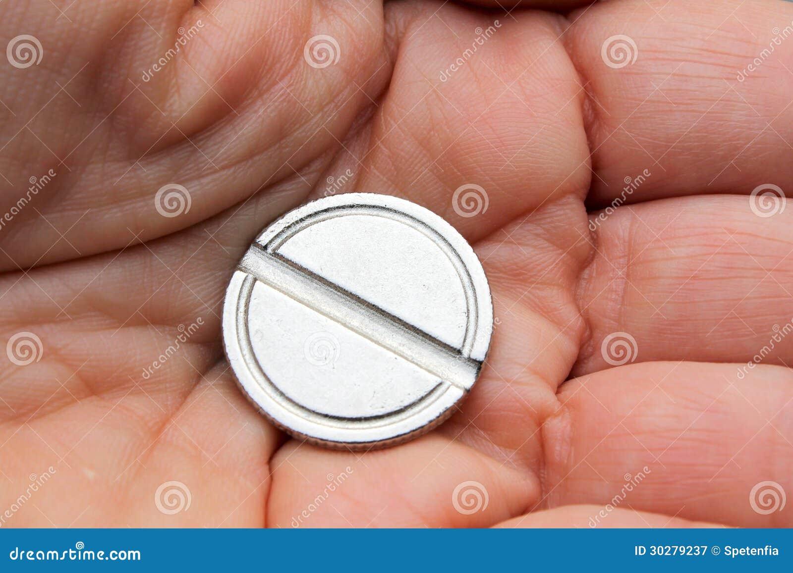 硬币在手上