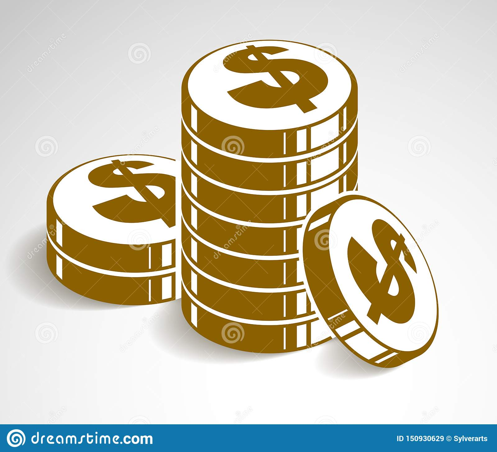 硬币堆现金金钱或赌博娱乐场芯片静物画、传染媒介象、例证或者商标、收支或者税概念