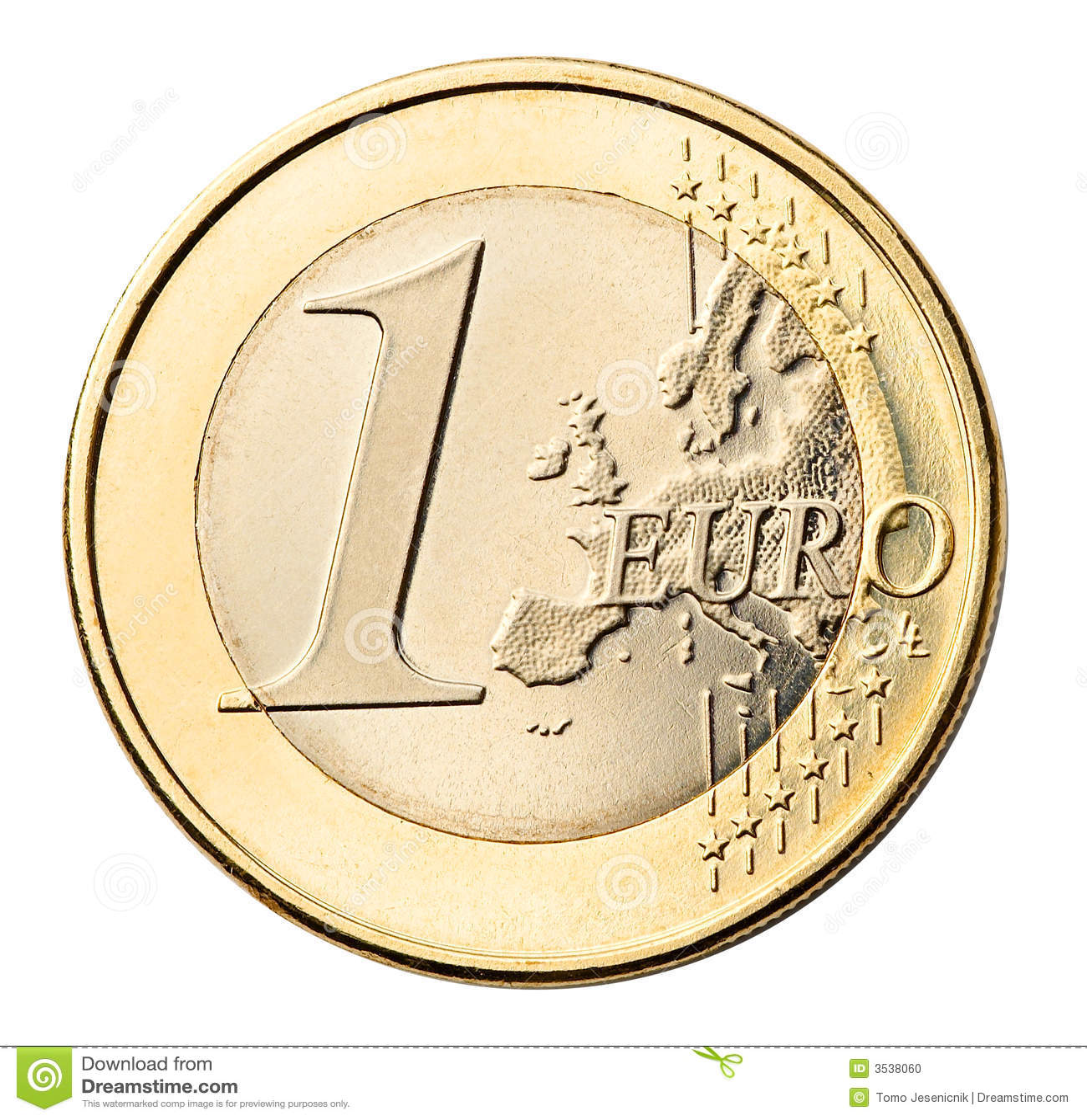 硬币欧元查出的白色