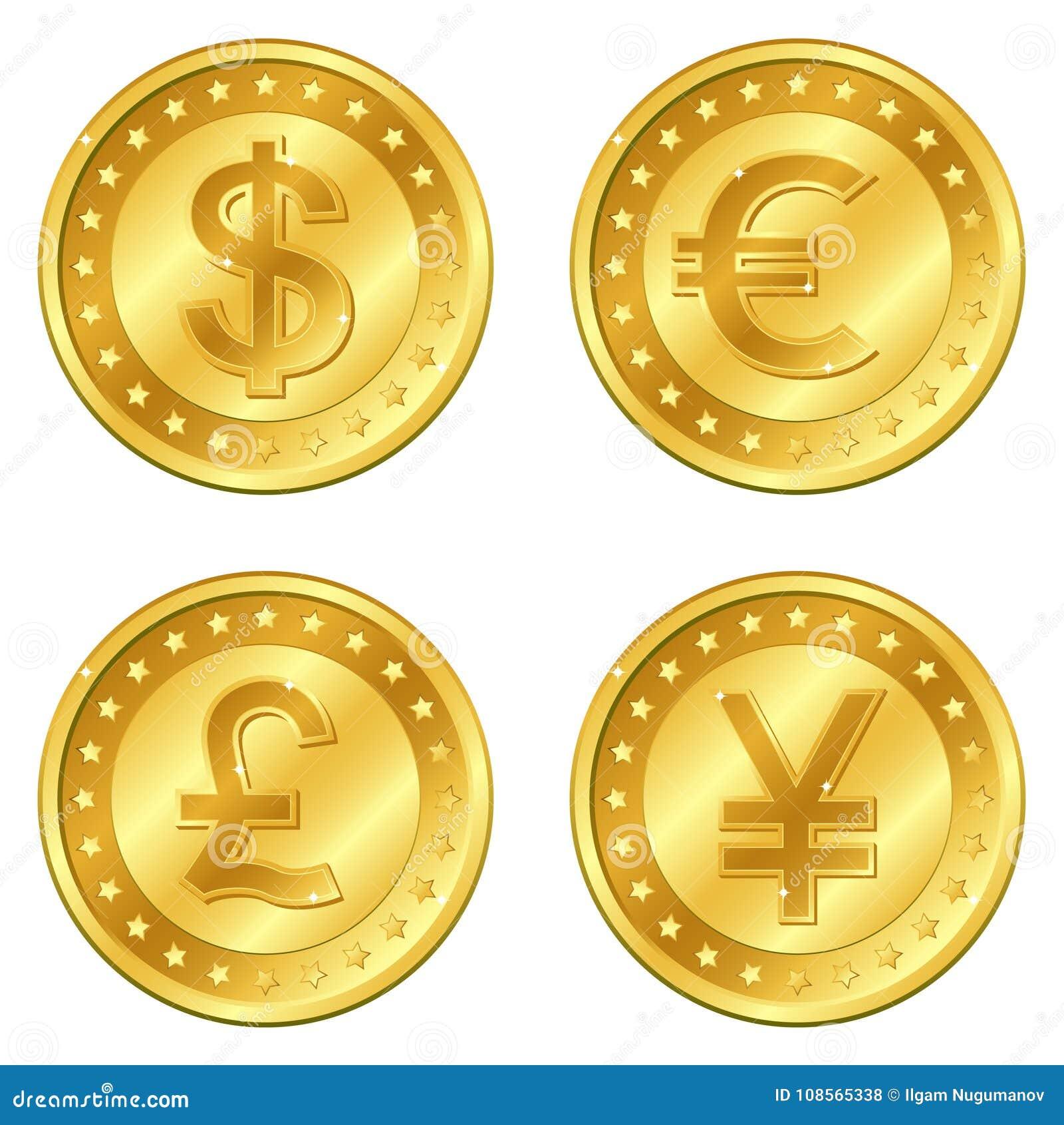 4 10硬币货币eps金例证分层堆积少校被安置的反映分隔的影子透明度透明向量 美元、欧元,英镑、元或者日元 编辑可能