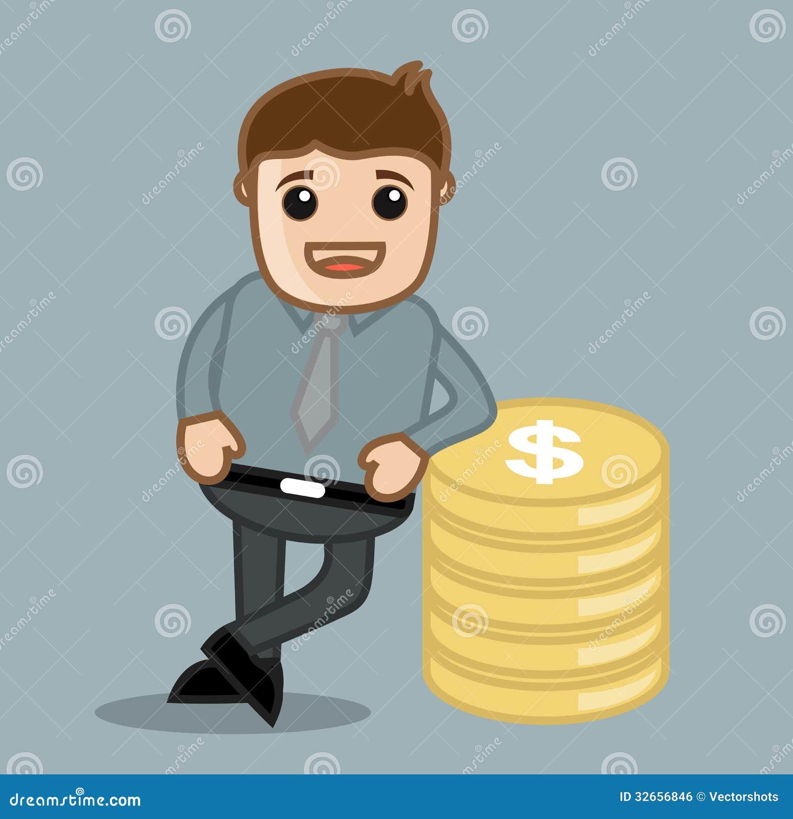 硬币-办公室和商人漫画人物传染媒介例证概念图片