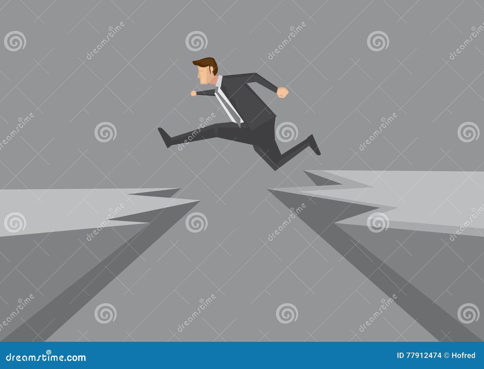 确信的年轻商人横跨危险峭壁传染媒介飞跃