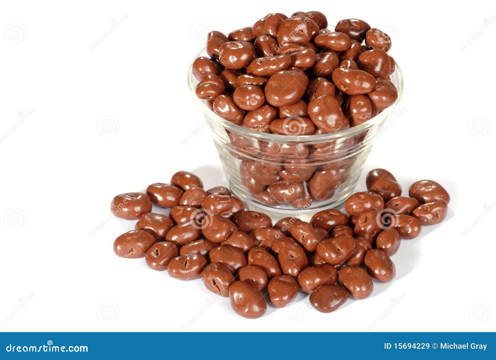 碗涂了巧克力的葡萄干
