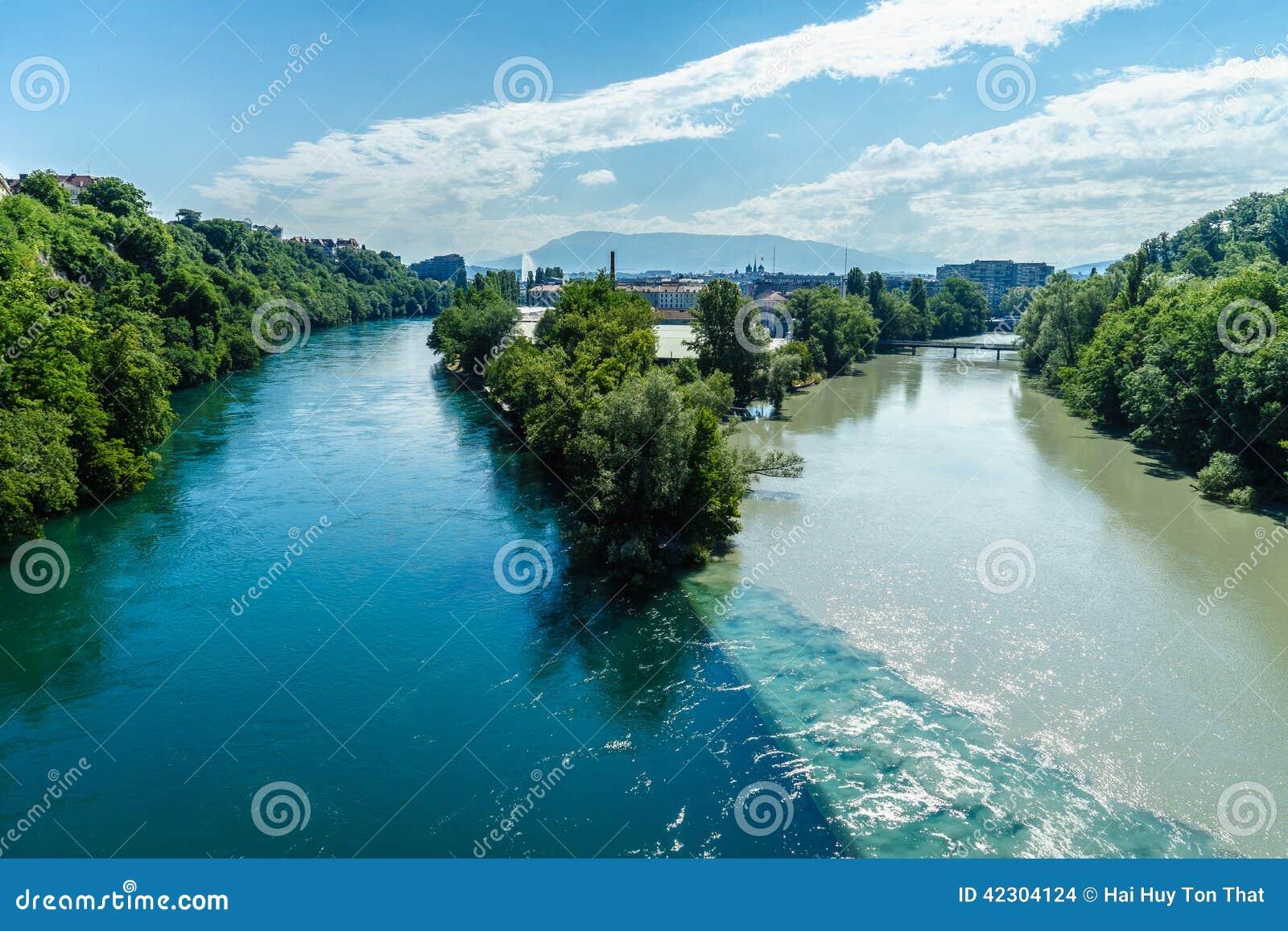 碰撞的河在日内瓦
