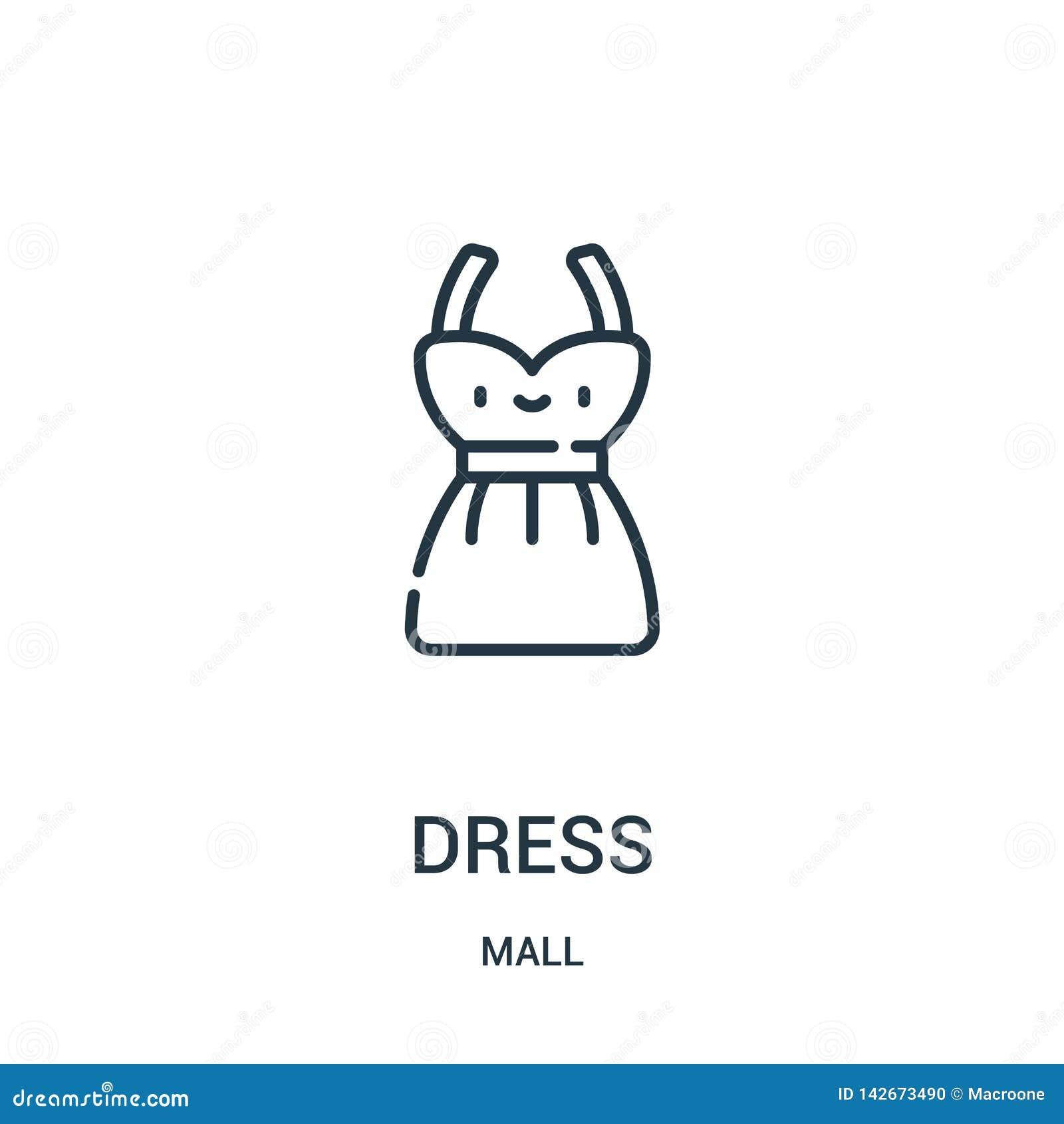 礼服从购物中心汇集的象传染媒介 稀薄的线礼服概述象传染媒介例证 线性标志为在网和机动性的使用