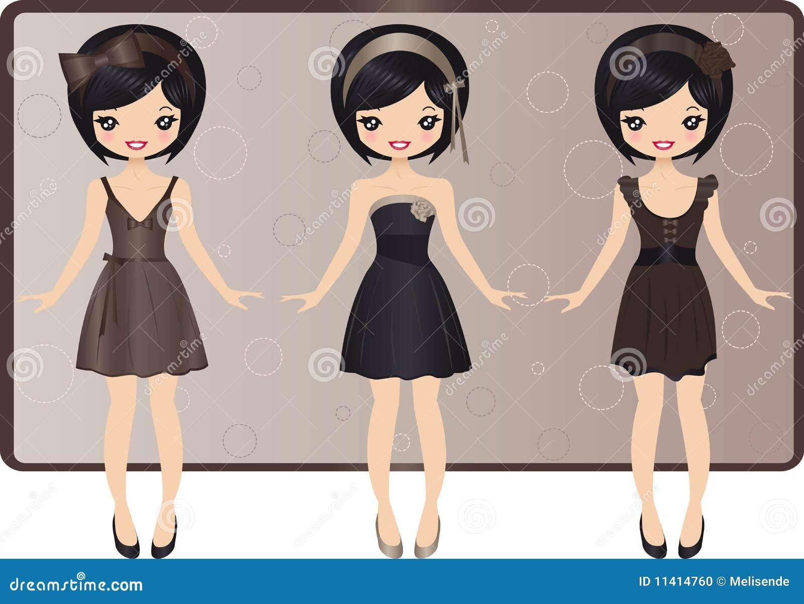 平衡女孩集合佩带的逗人喜爱的礼服.图片