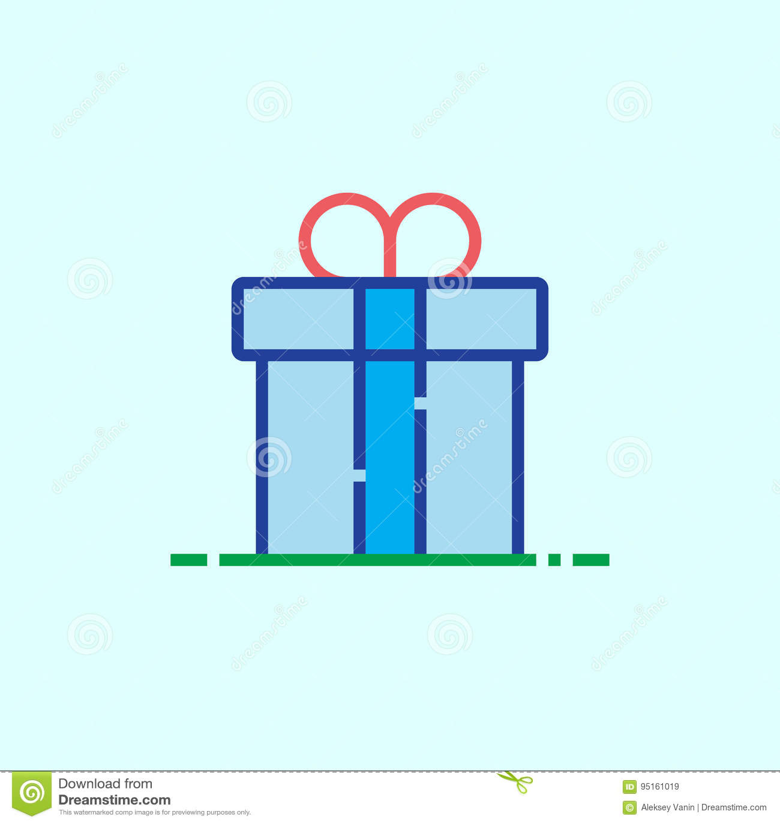 礼物盒线象,概述传染媒介商标例证,线性col