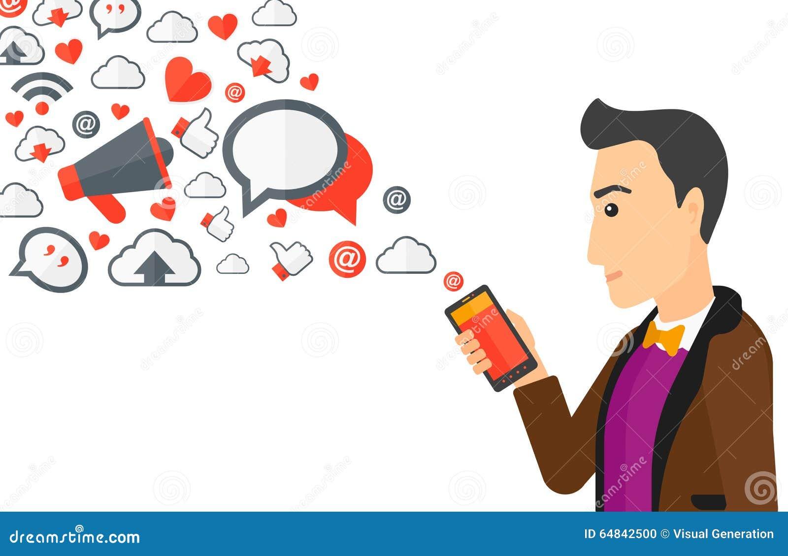 使用有飞行在白色背景的许多的一个人智能手机社会媒介应用象传染图片