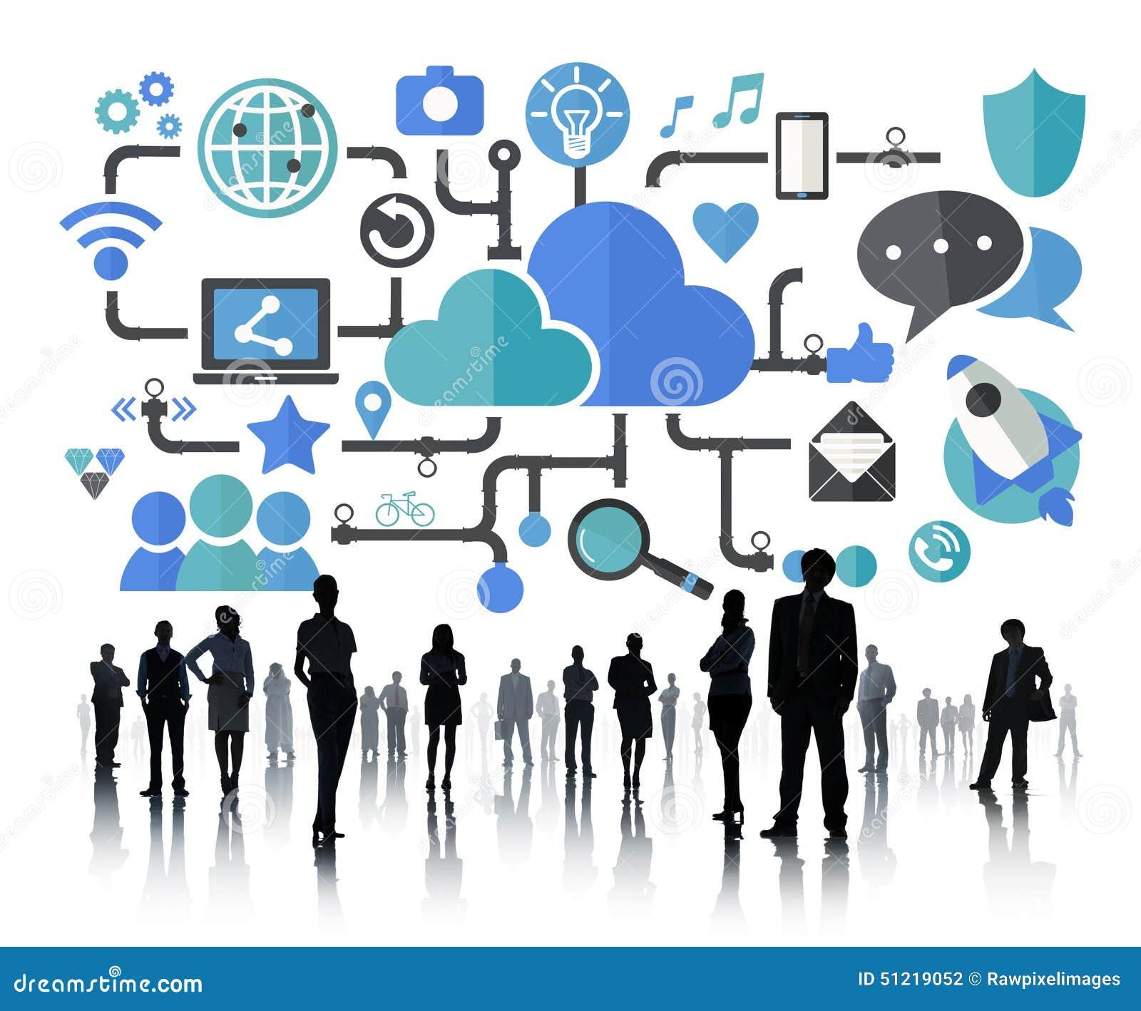 社会媒介社会网络连接数据存贮概念.图片