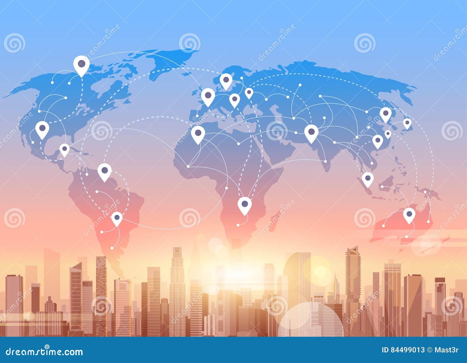 社会媒介通信互联网连接城市摩天大楼视图世界地图背景