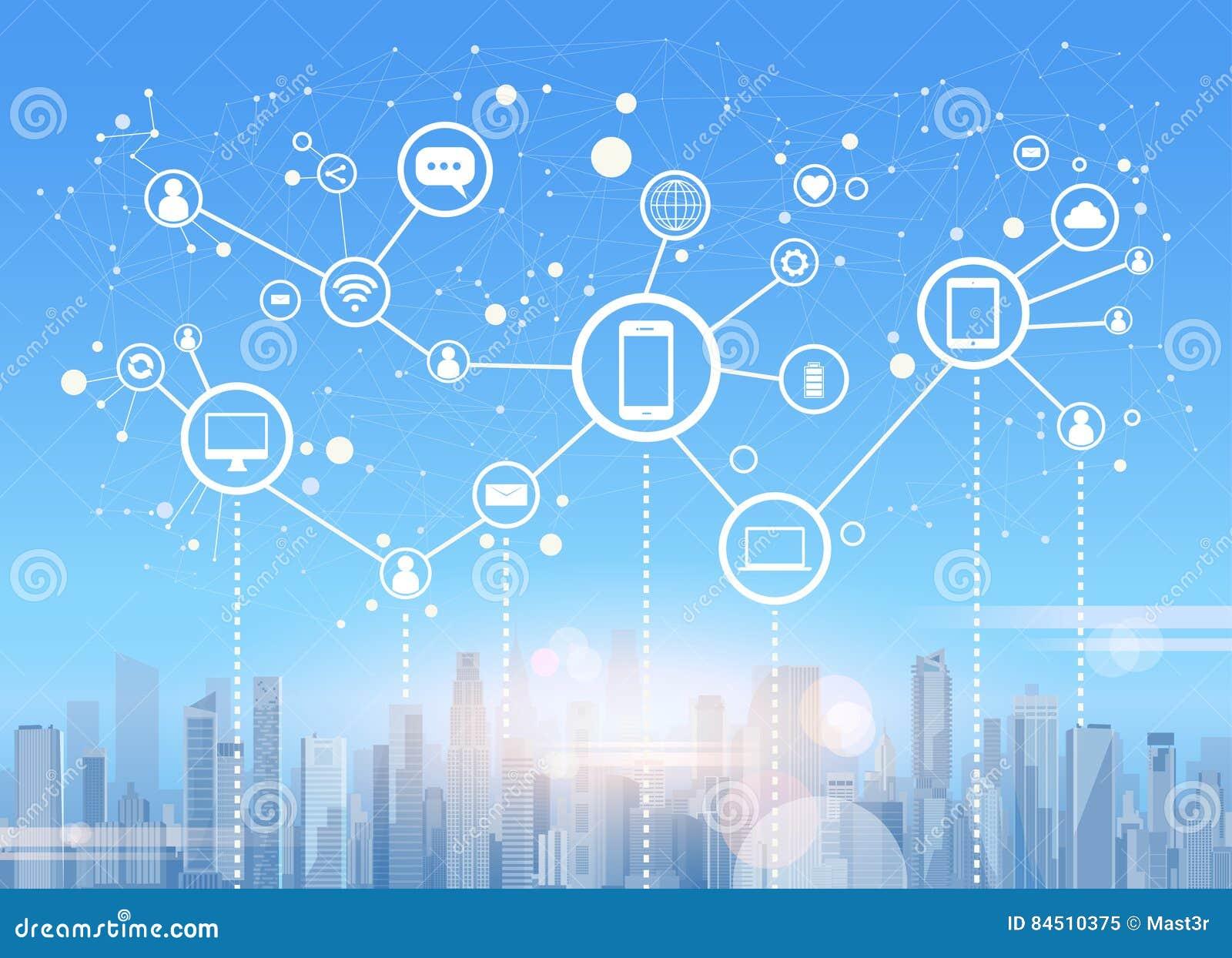 社会媒介通信互联网连接城市摩天大楼视图都市风景背景
