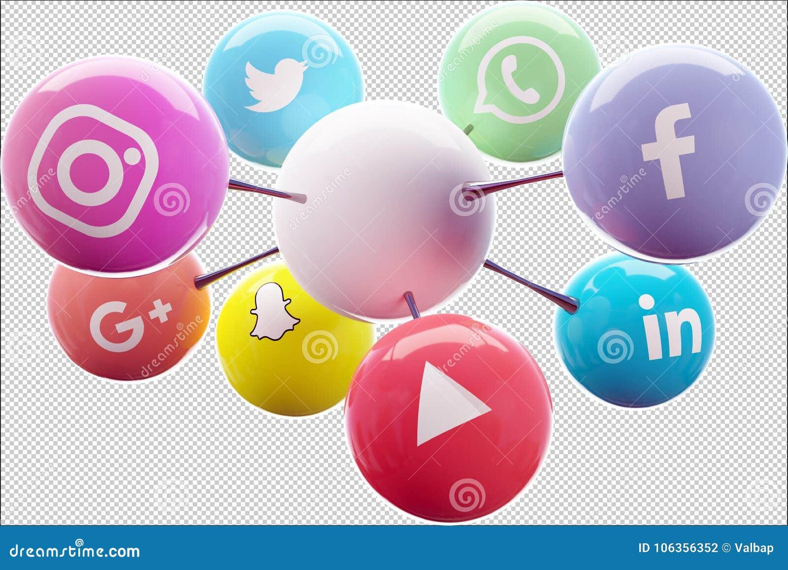社会网络连接了到商标的白色球理想
