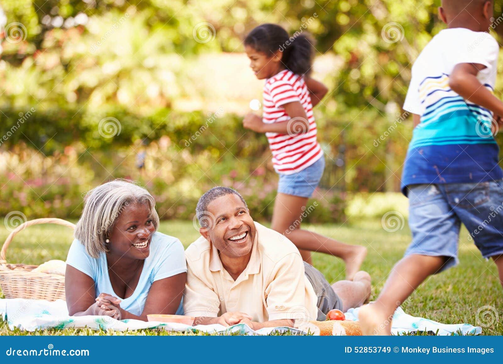 祖父母和孙有野餐在庭院