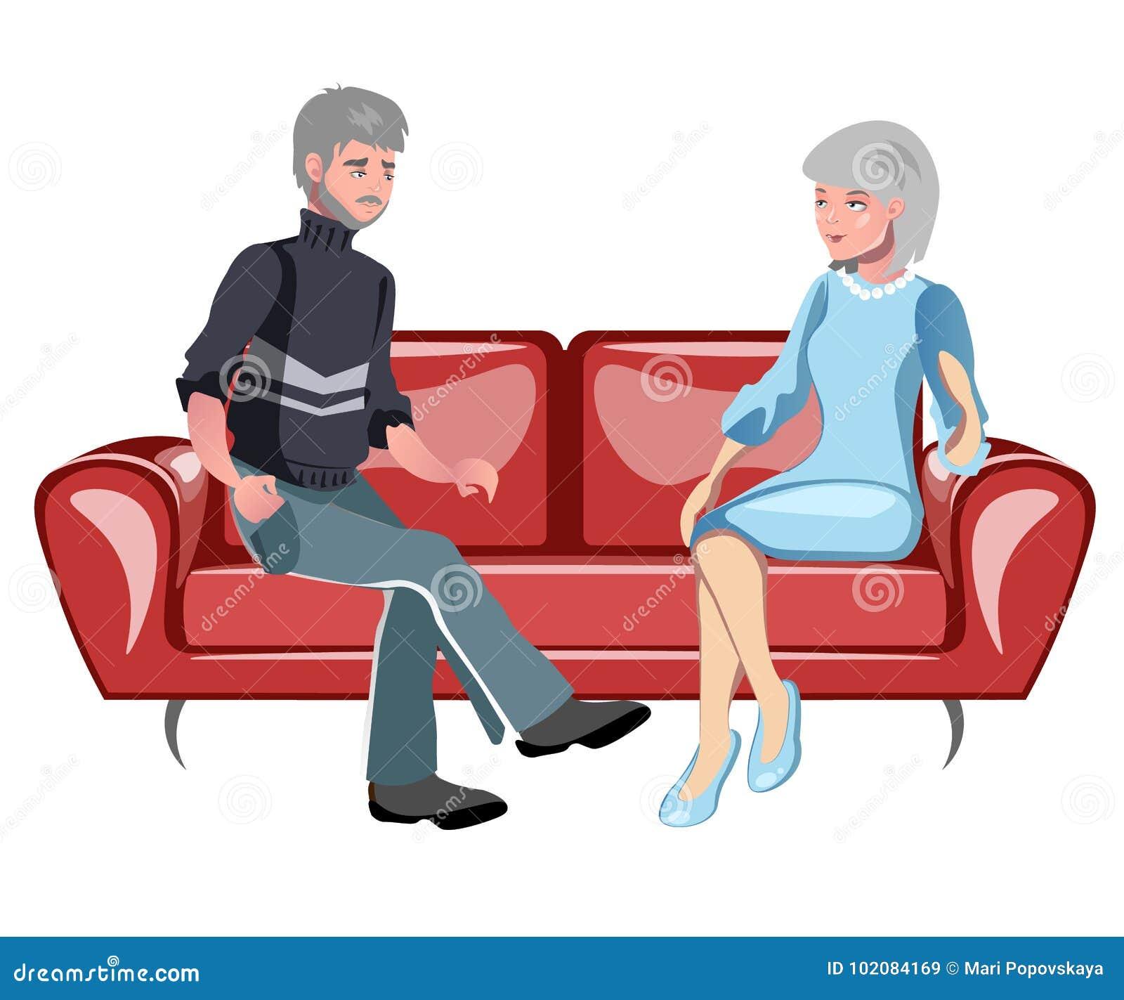 祖父母坐长沙发