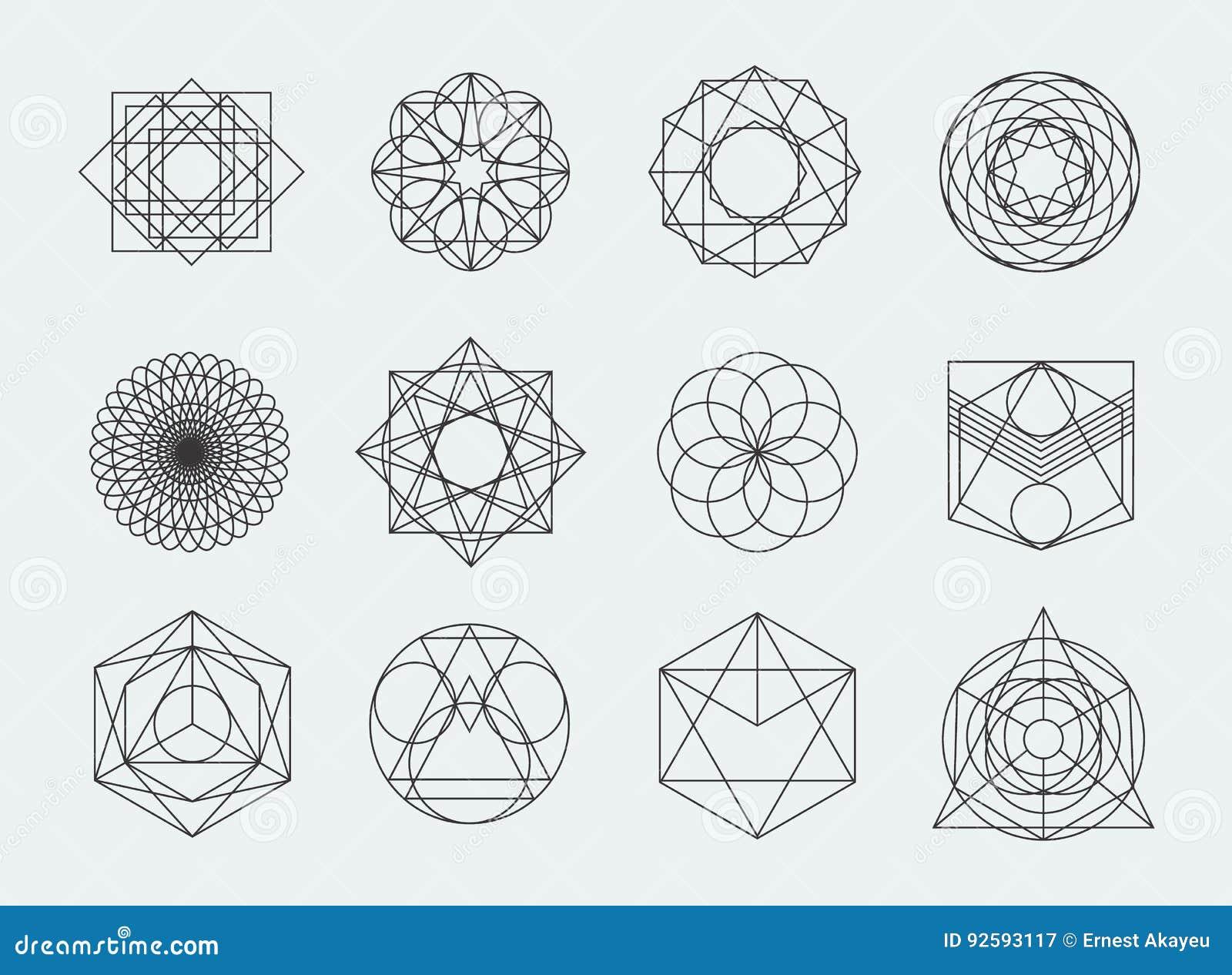 神圣的几何标志收藏 套行家,摘要,方术,精神,在白色背景的神秘的元素