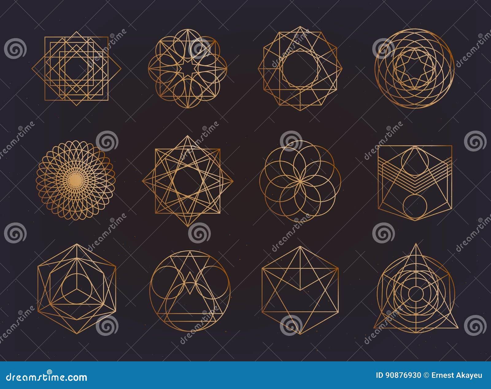 神圣的几何标志收藏 行家,摘要,方术,精神,神秘的元素集
