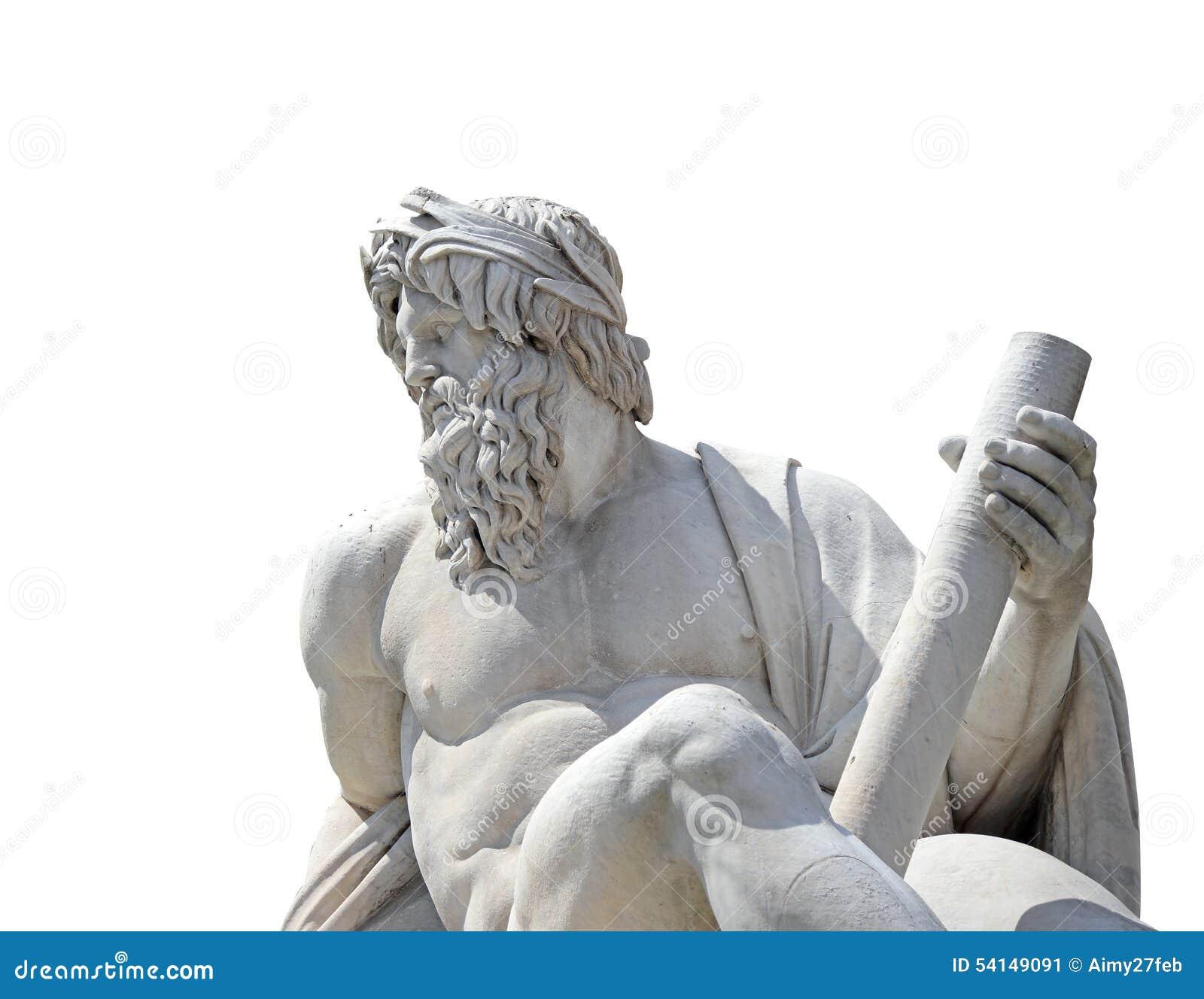 神宙斯的雕象在四条河在纳沃纳广场,罗马(与裁减路线的孤立的)贝尔尼尼的喷泉