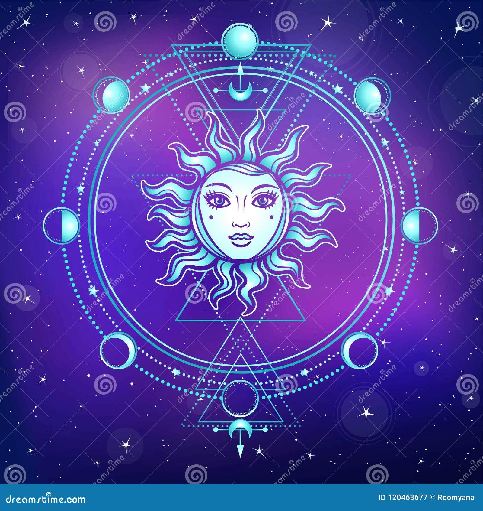 神秘的图画:与一个人面,神圣的几何,月相的太阳