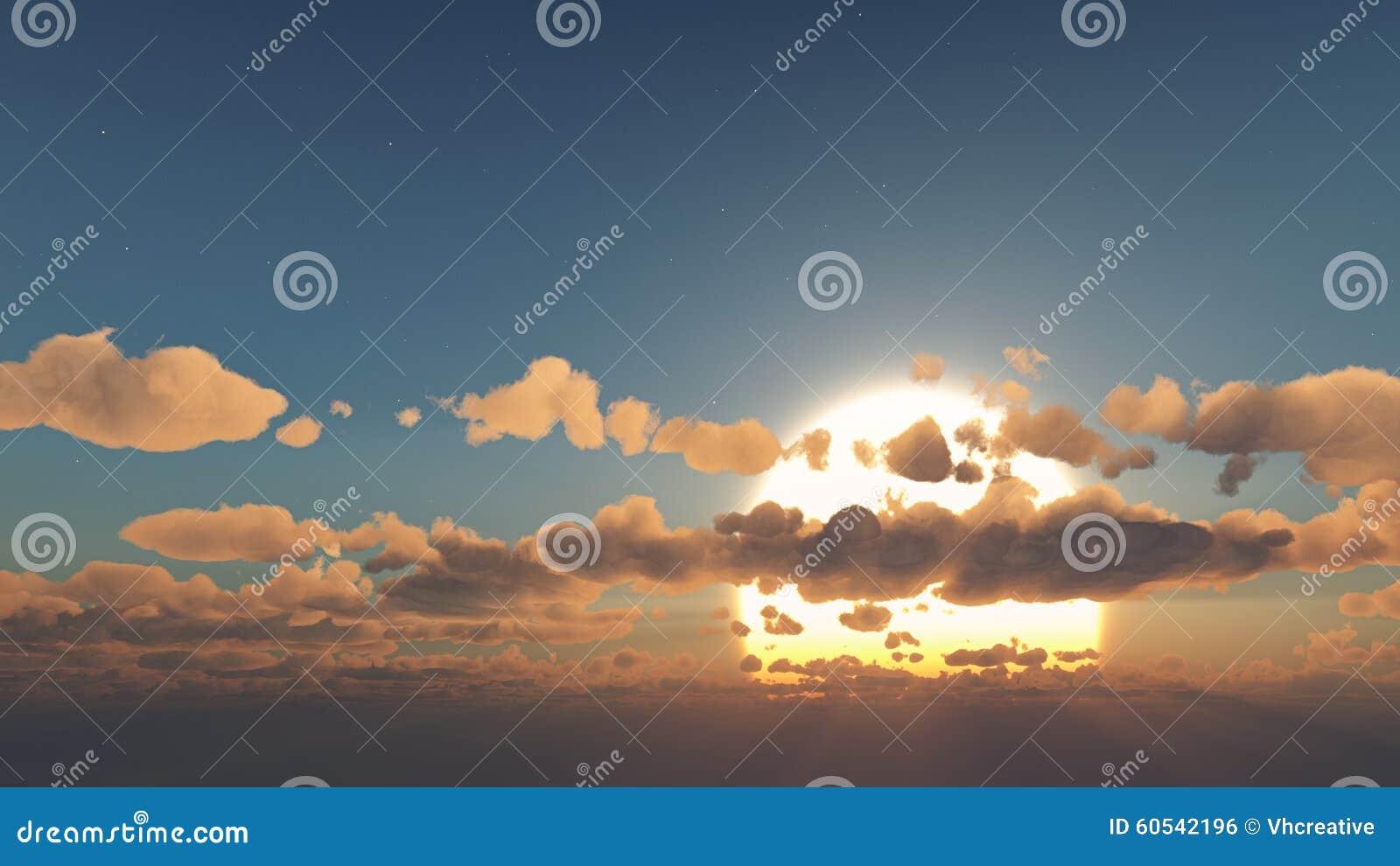 神秘的太阳和云彩