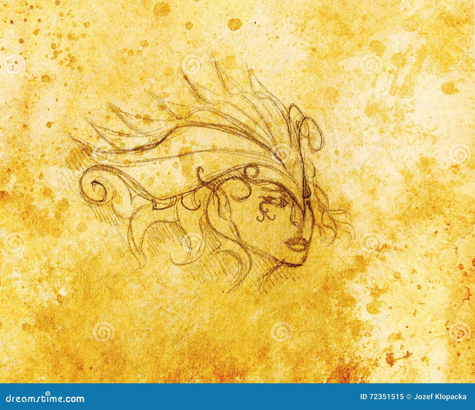 神秘的妇女面孔和头饰带 在纸,颜色作用的铅笔图