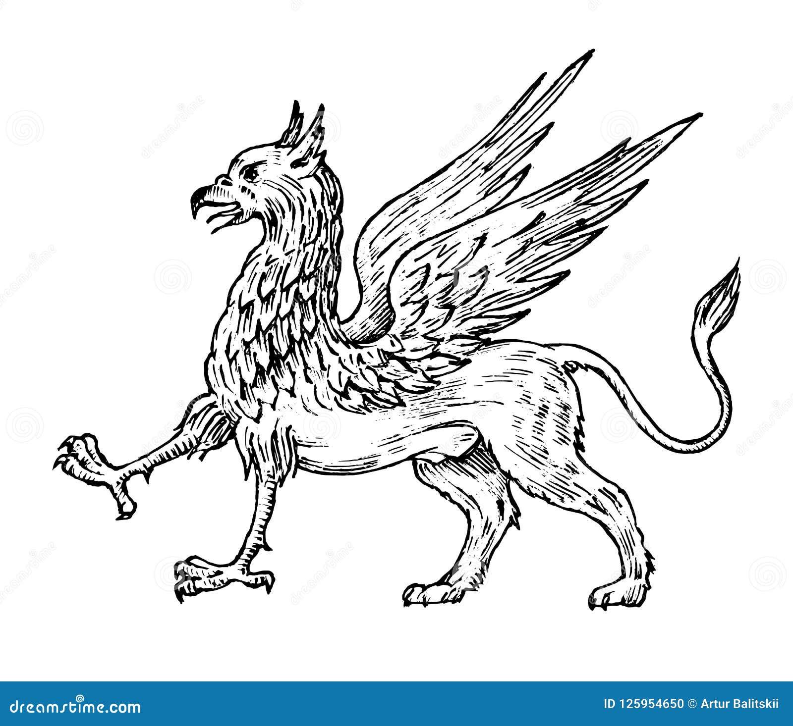 神话动物 神话古色古香的新来的人 古老鸟,在老葡萄酒样式的意想不到的生物 刻记
