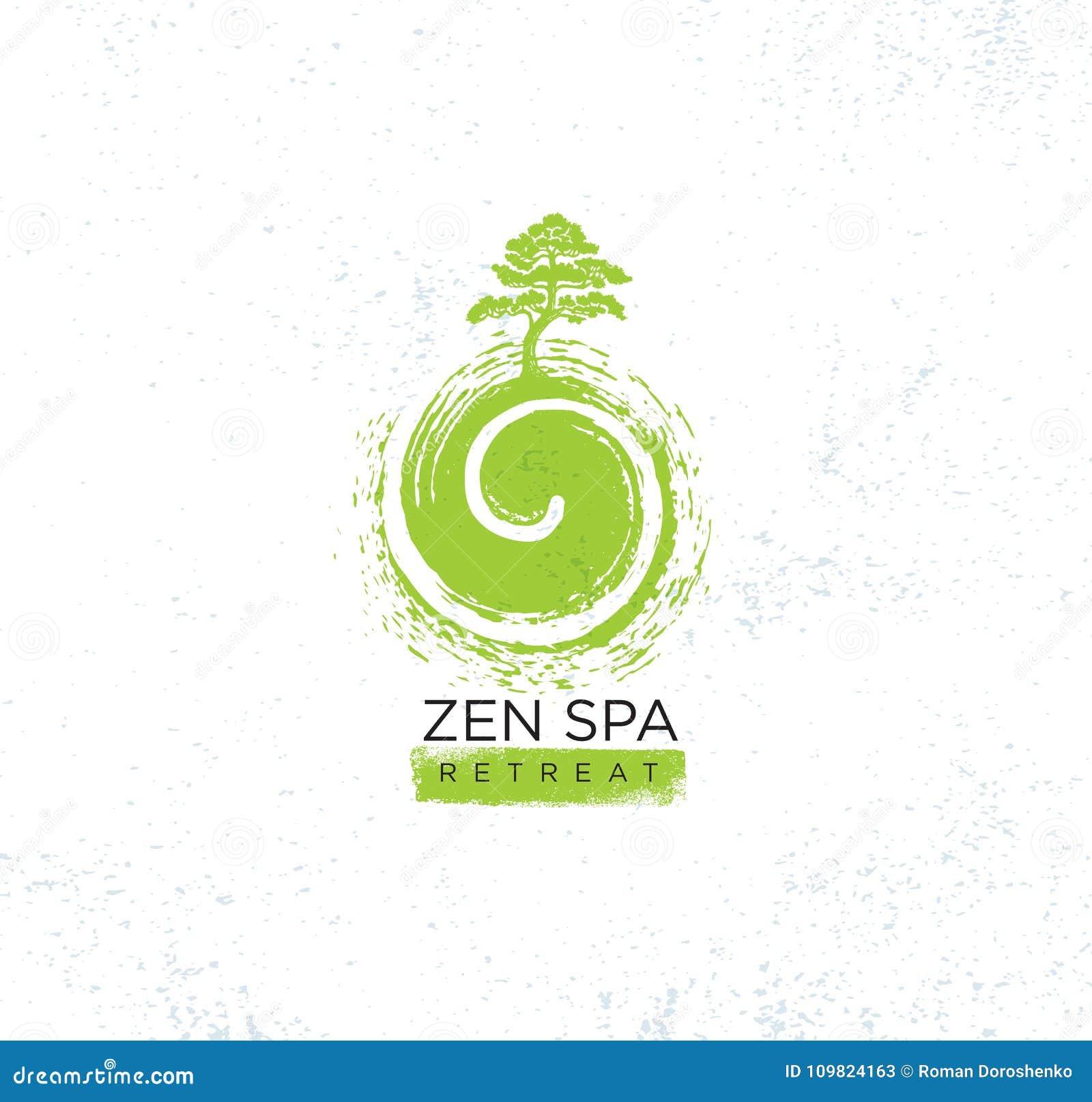禅宗温泉健康全部撤退有机标志概念 在漩涡例证的树在质感粗糙的背景