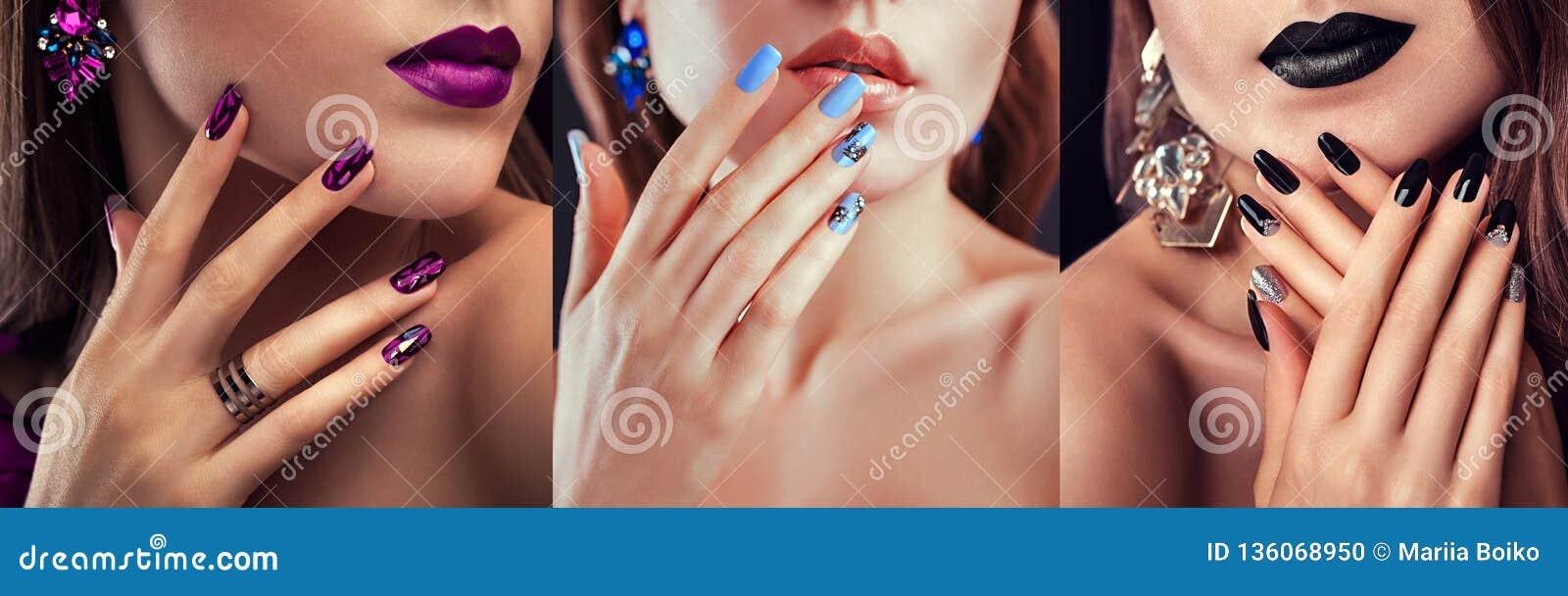 秀丽与另外构成的时装模特儿和钉子设计佩带的首饰 套修指甲 三时髦的神色