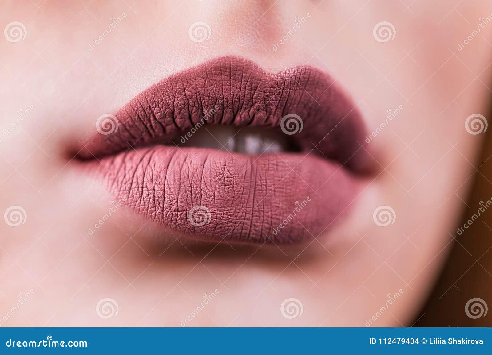 秀丽时尚有自然构成的妇女嘴唇 表面无光泽的唇膏 秀丽女孩面孔关闭 裸体颜色 性感的嘴唇