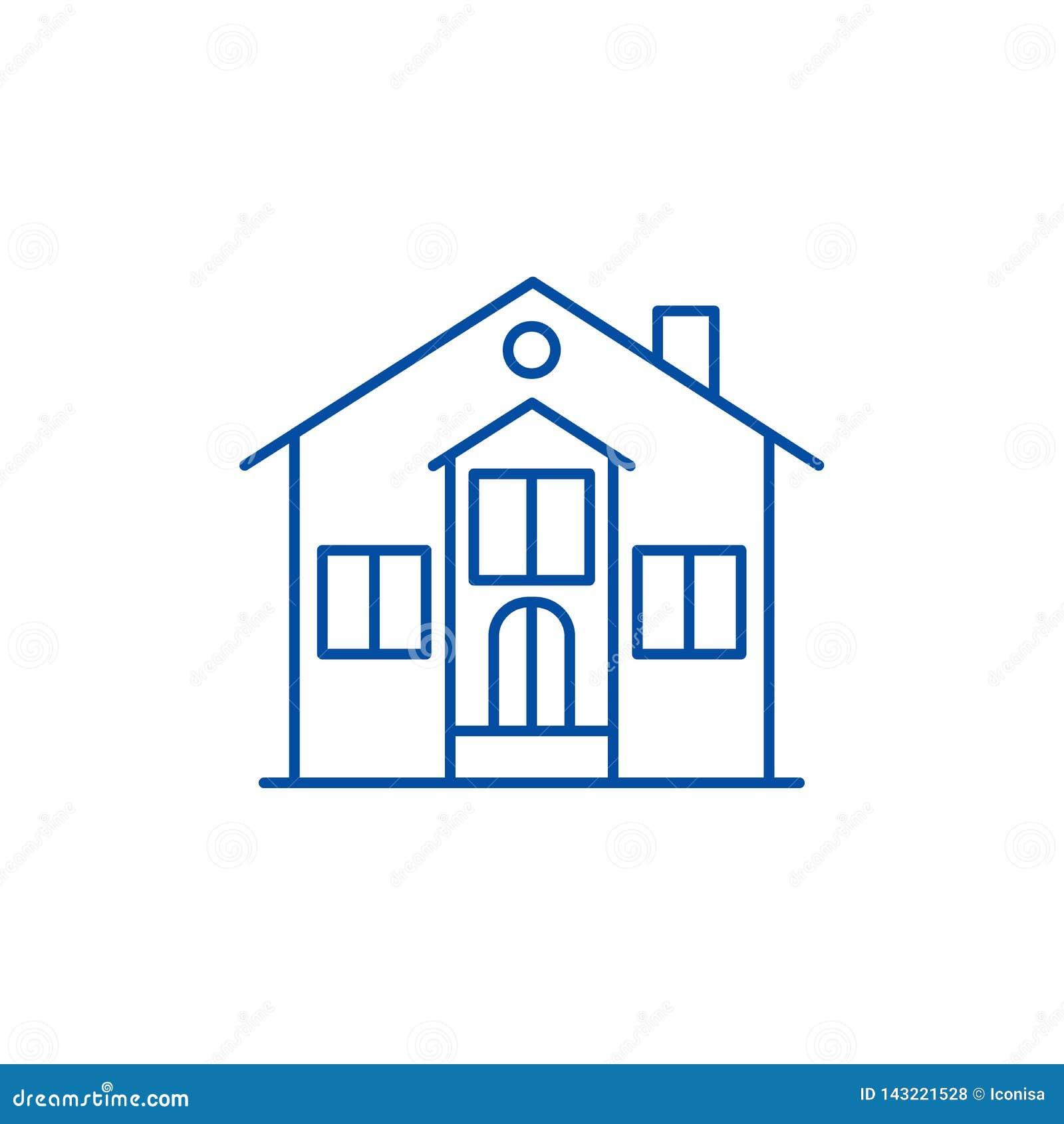 私有房子线象概念 私有房子平的传染媒介标志,标志,概述例证